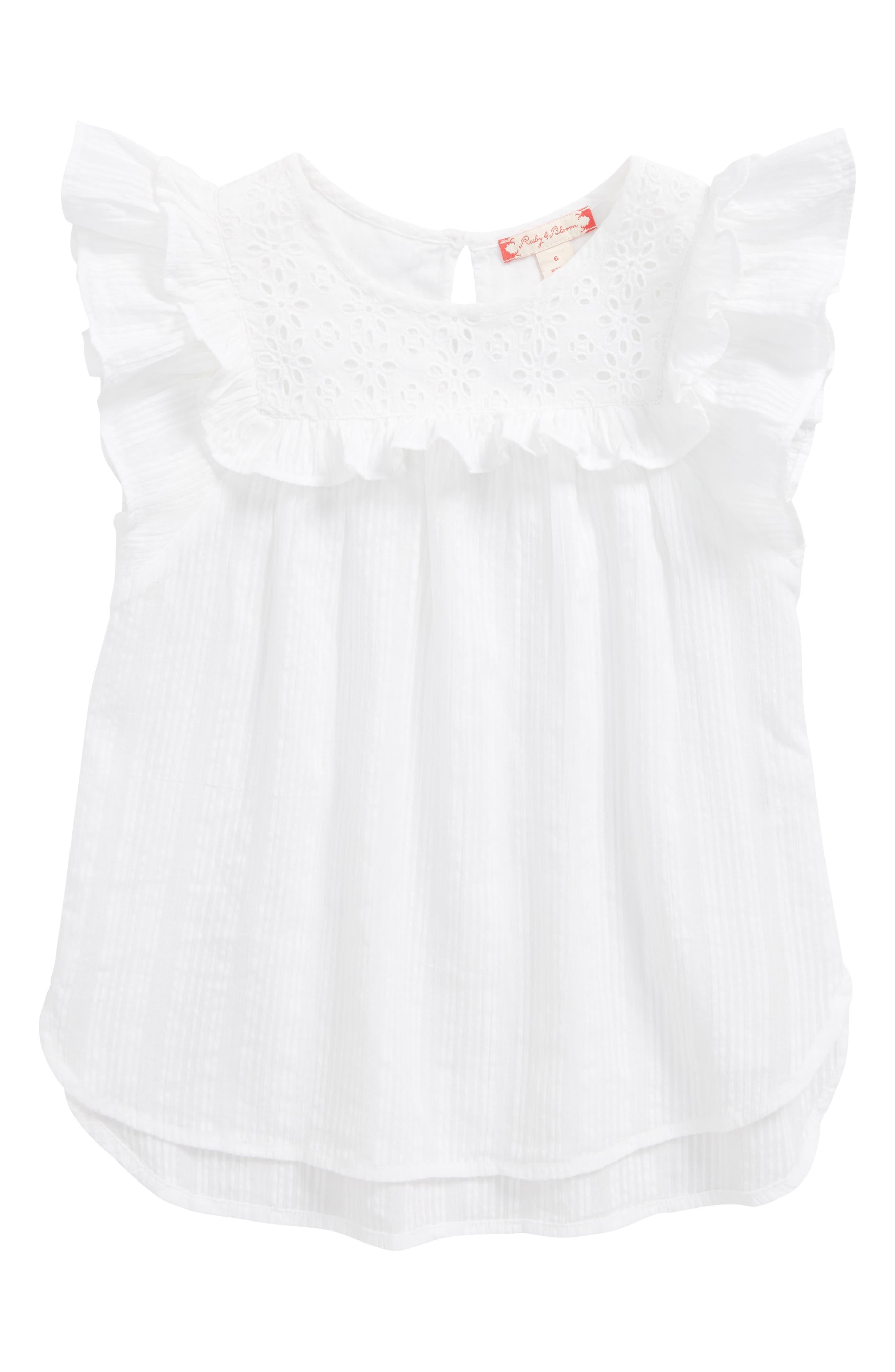 Ruby & Bloom Flutter Sleeve Top (Toddler Girls, Little Girls & Big Girls)