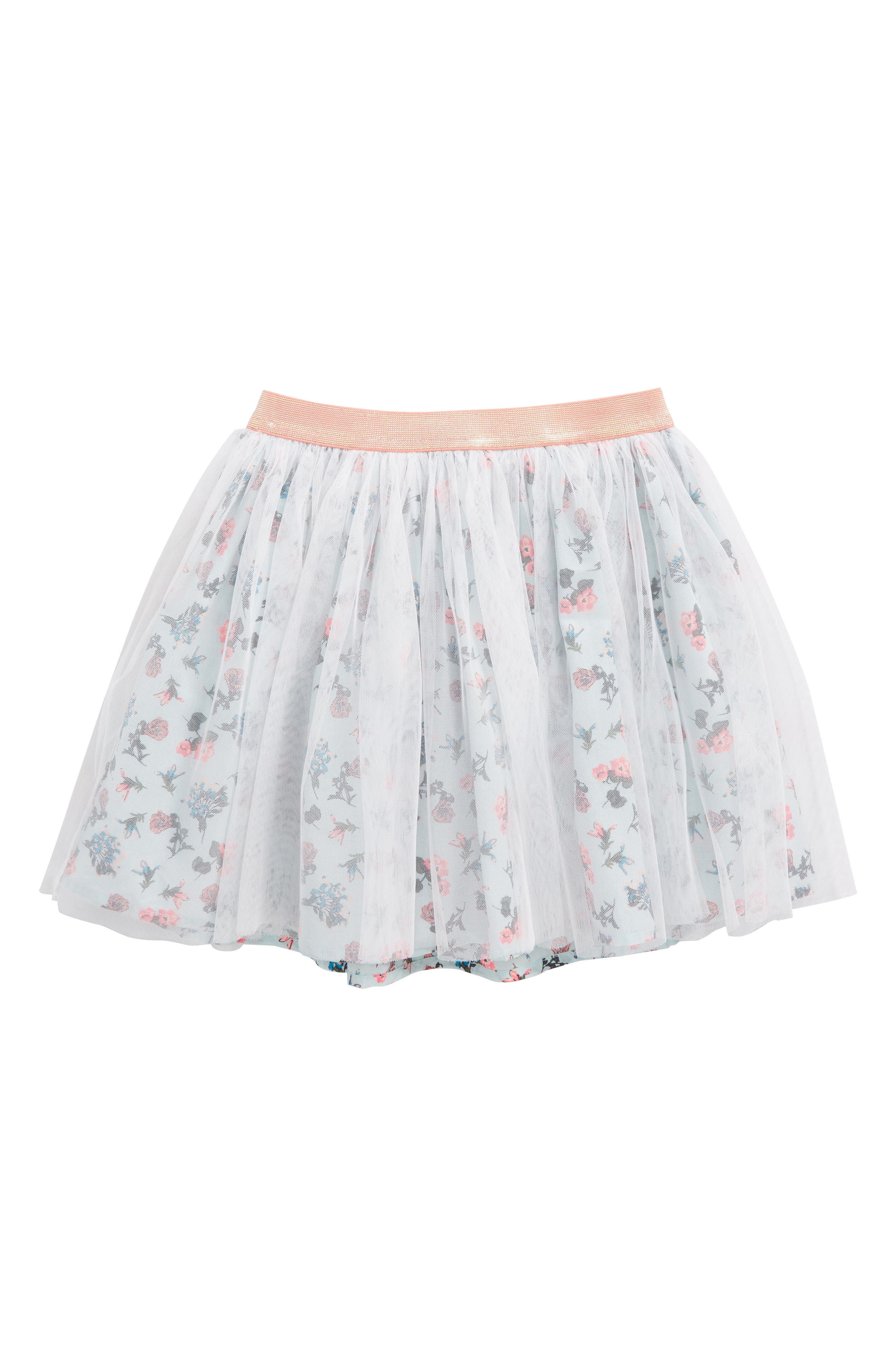 Floral Tulle Skirt,                         Main,                         color, Teal Fair Spring Blooms