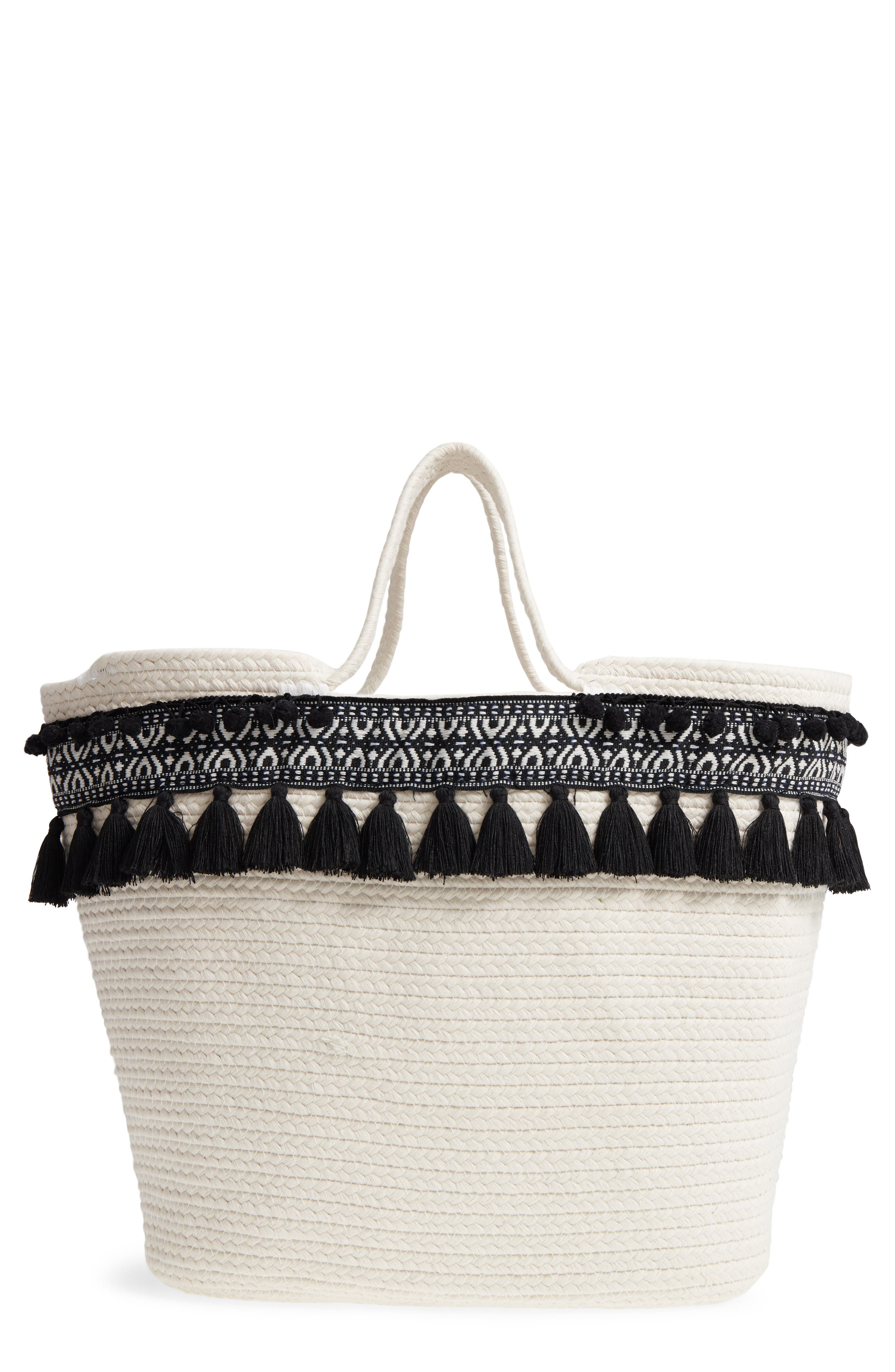 Caicos Woven Tote,                             Main thumbnail 1, color,                             Ivory