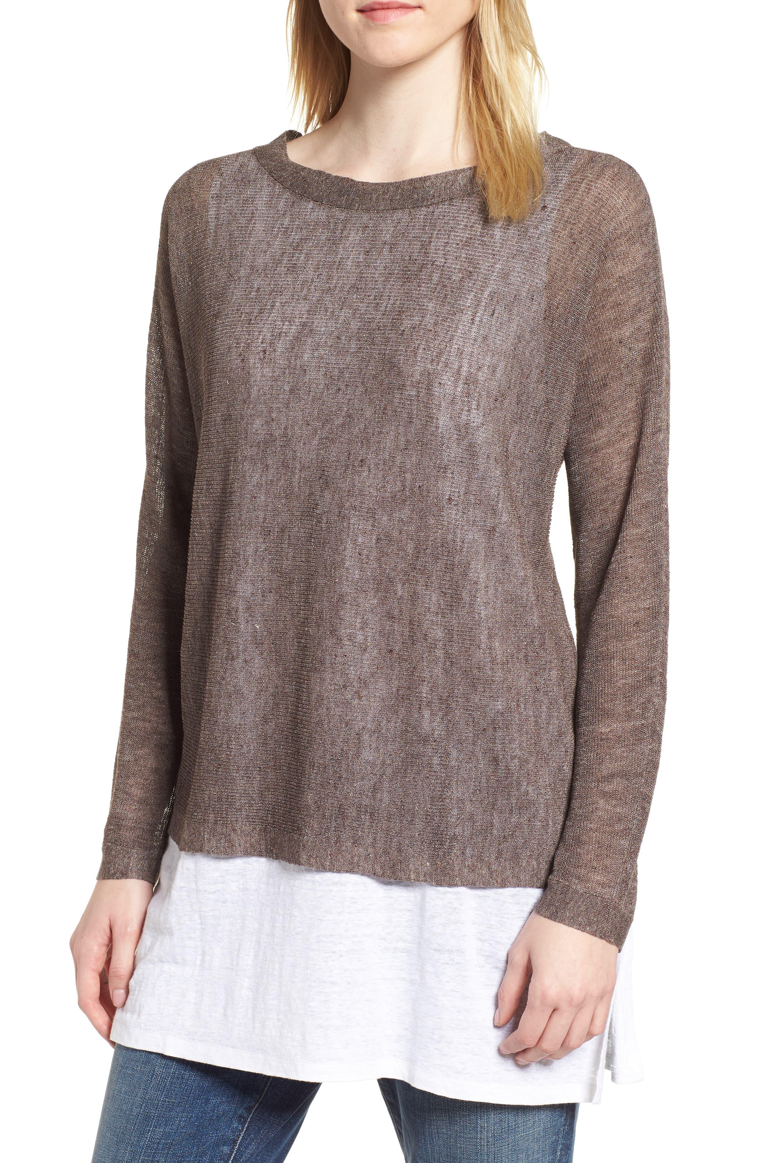 Linen Blend Sweater,                         Main,                         color, Rye