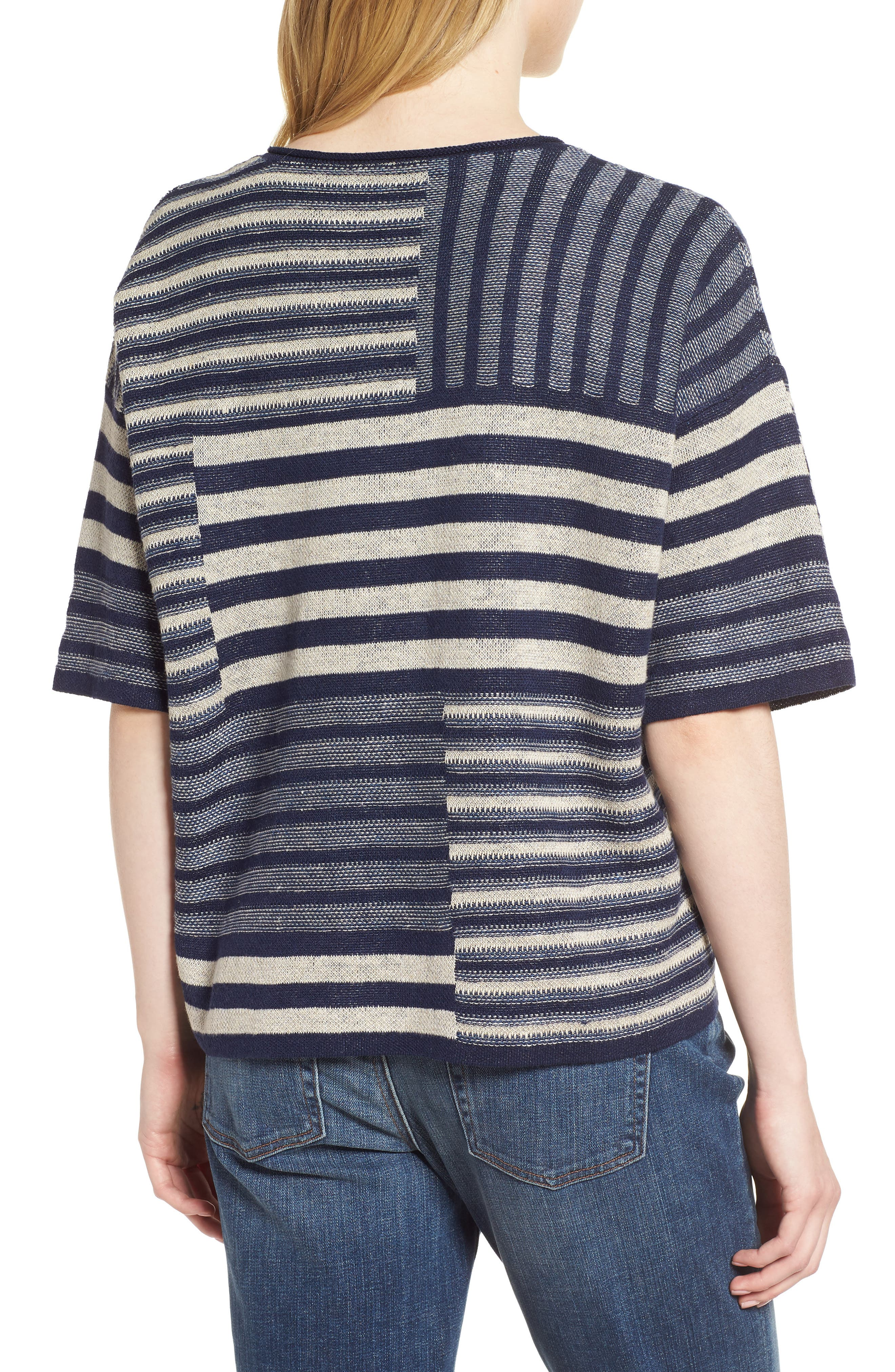 Mixed Stripe Organic Linen Top,                             Alternate thumbnail 2, color,                             Denim