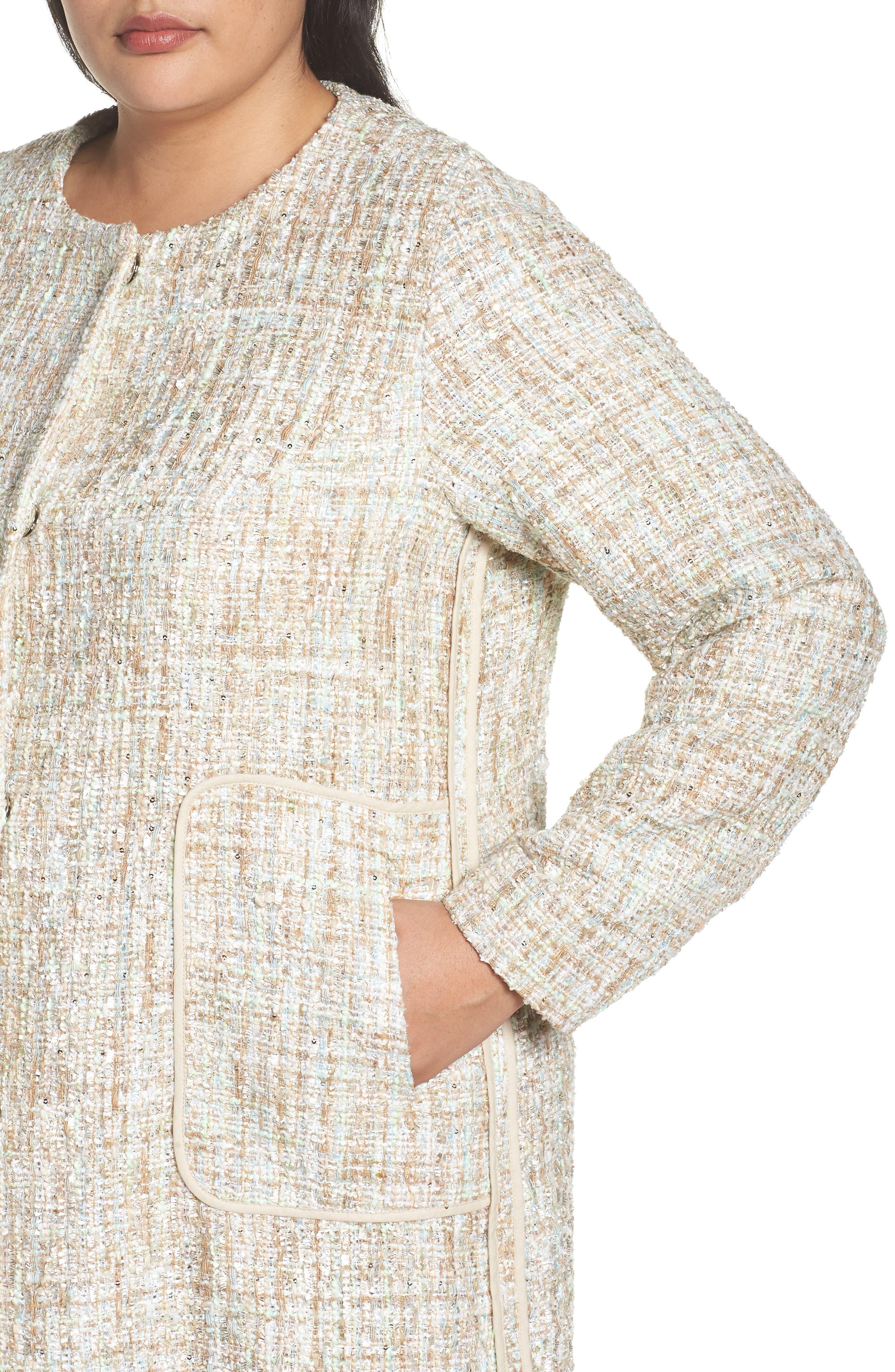 Metallic Tweed Jacket,                             Alternate thumbnail 3, color,                             White