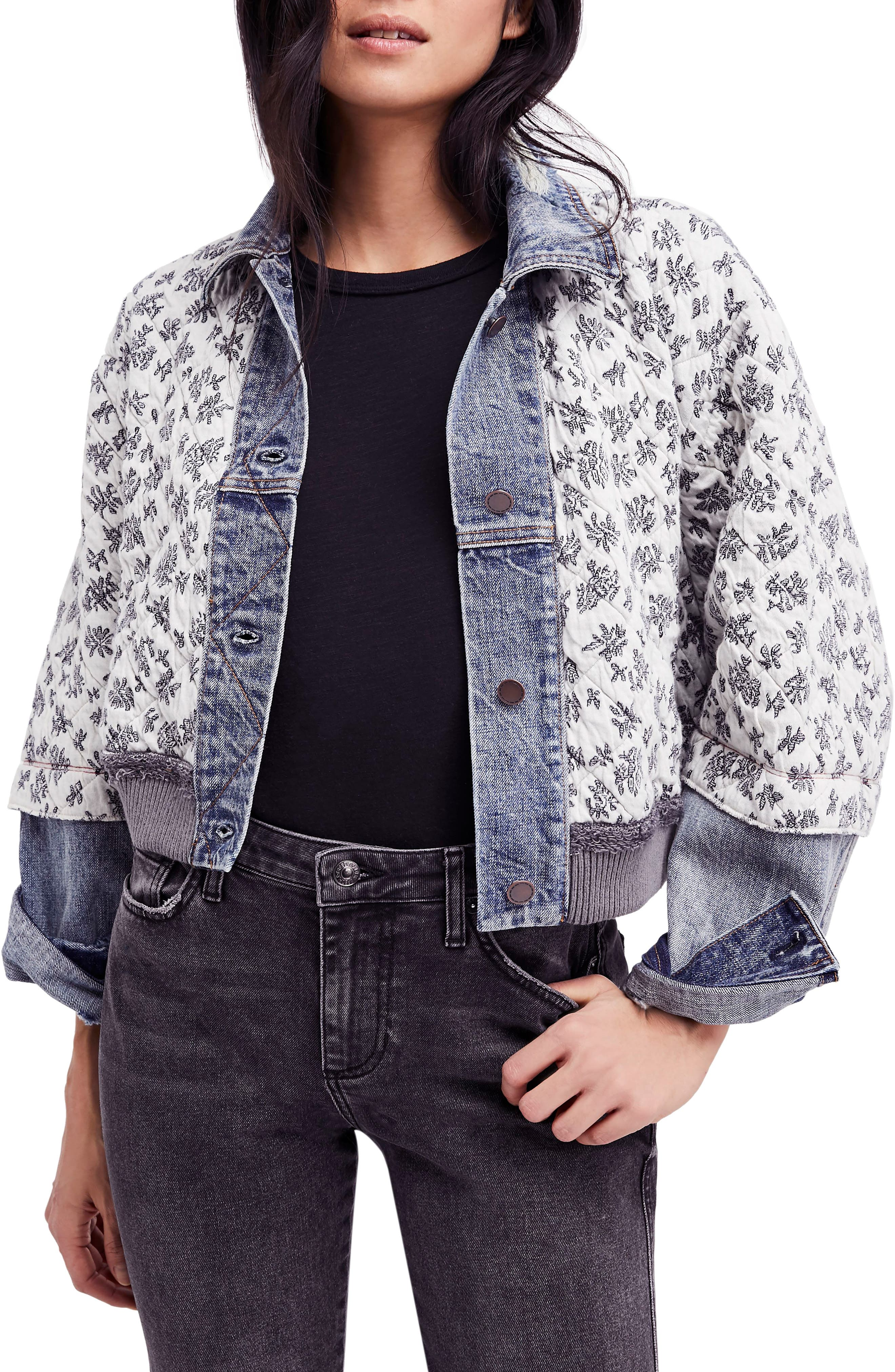 Ditsy Denim Jacket,                         Main,                         color, Blue