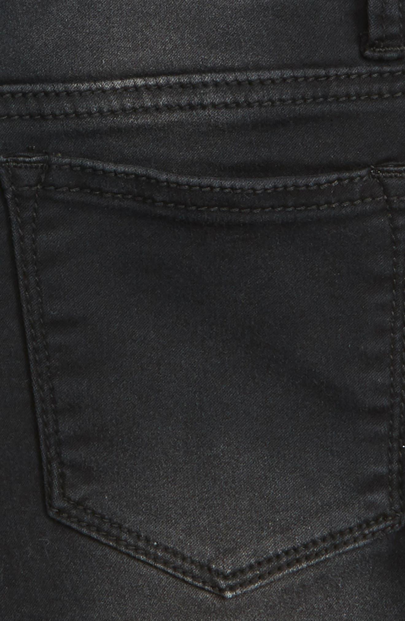 Lace Trim Frayed Denim Shorts,                             Alternate thumbnail 3, color,                             Jet