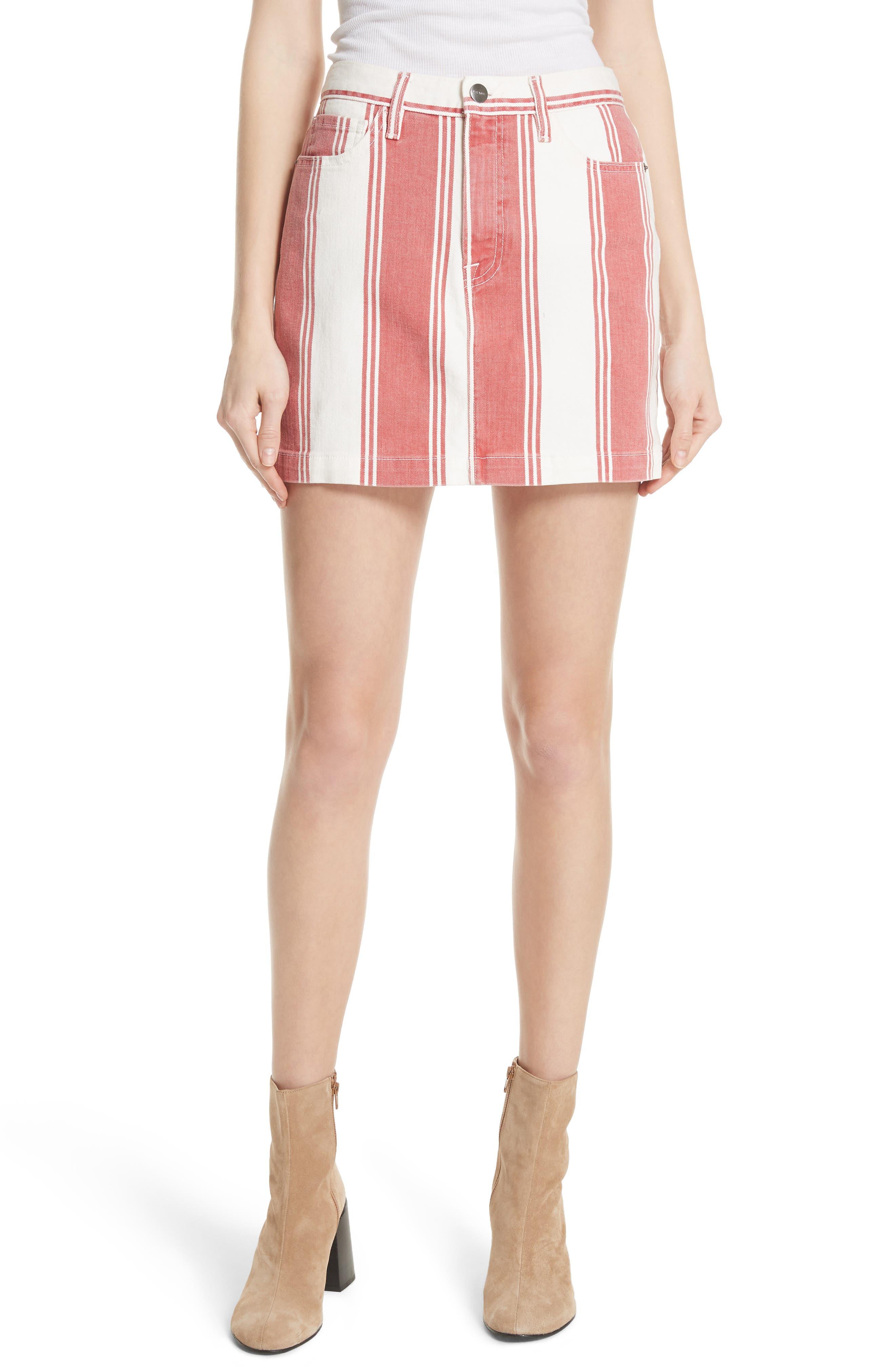 Le Mini Stripe Denim Skirt,                             Main thumbnail 1, color,                             Fiery Stripe
