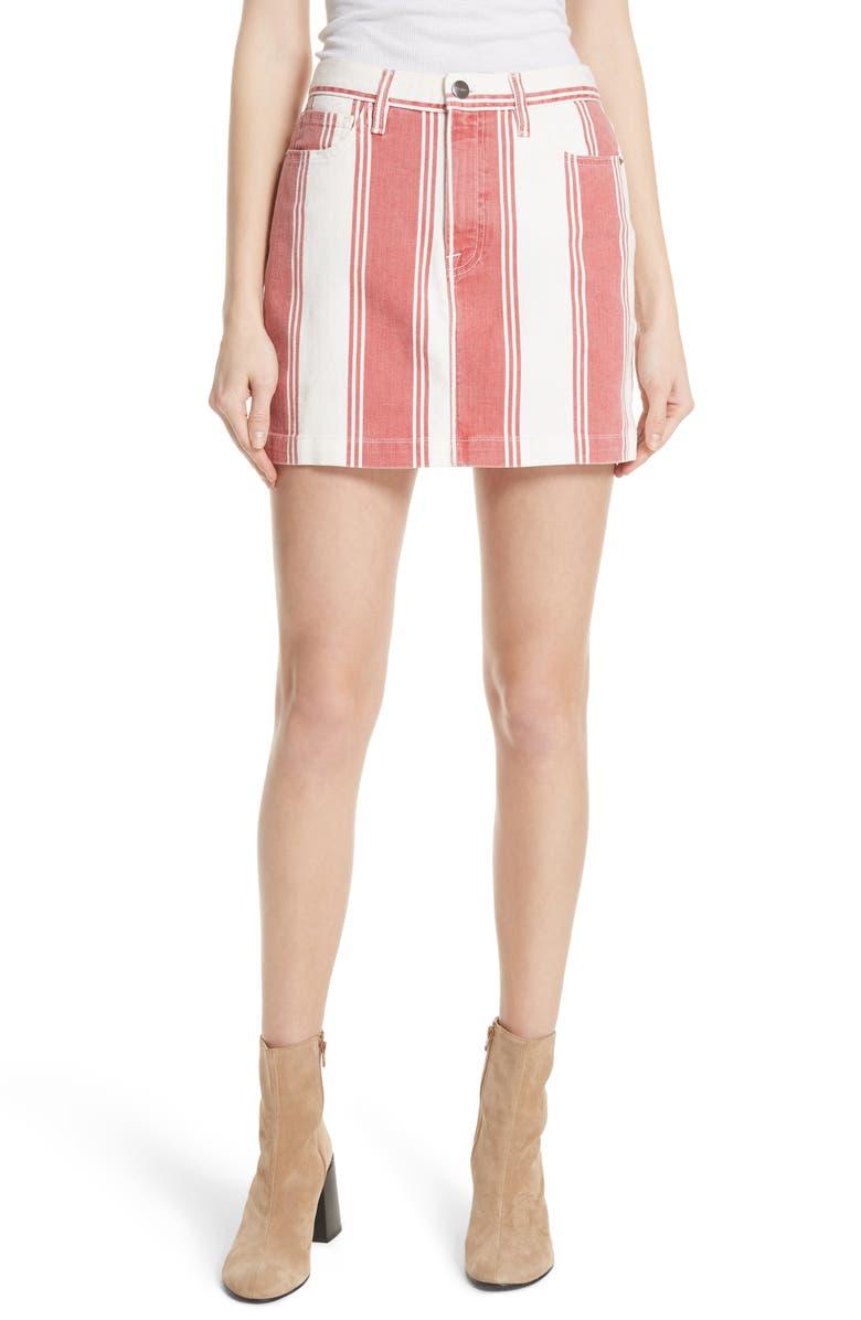 Le Mini Stripe Denim Skirt
