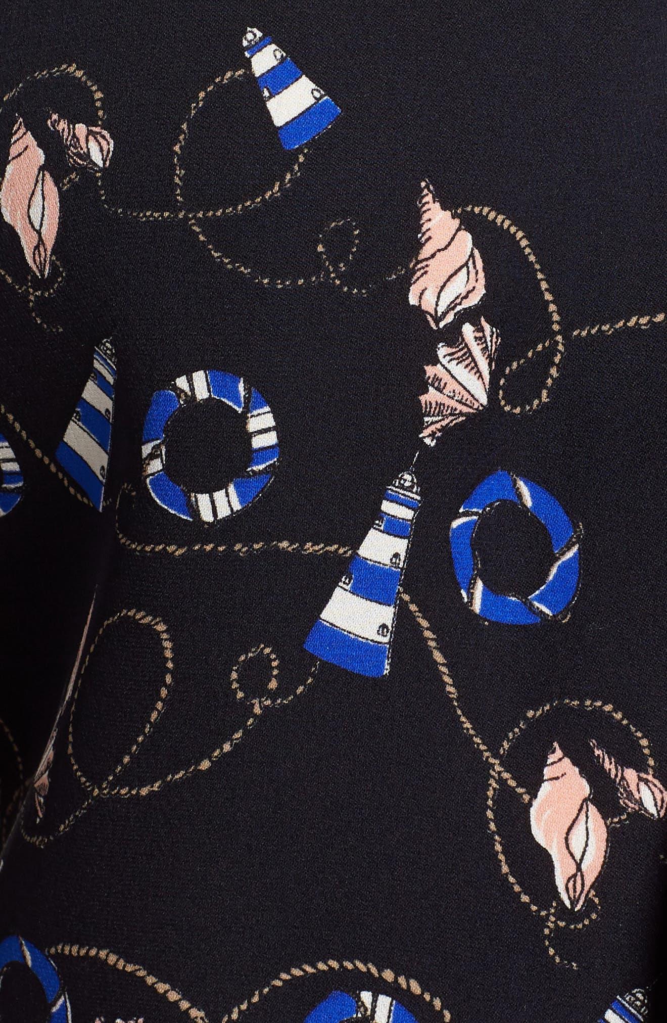 Banora Print Silk Blouse,                             Alternate thumbnail 6, color,                             Print Navy