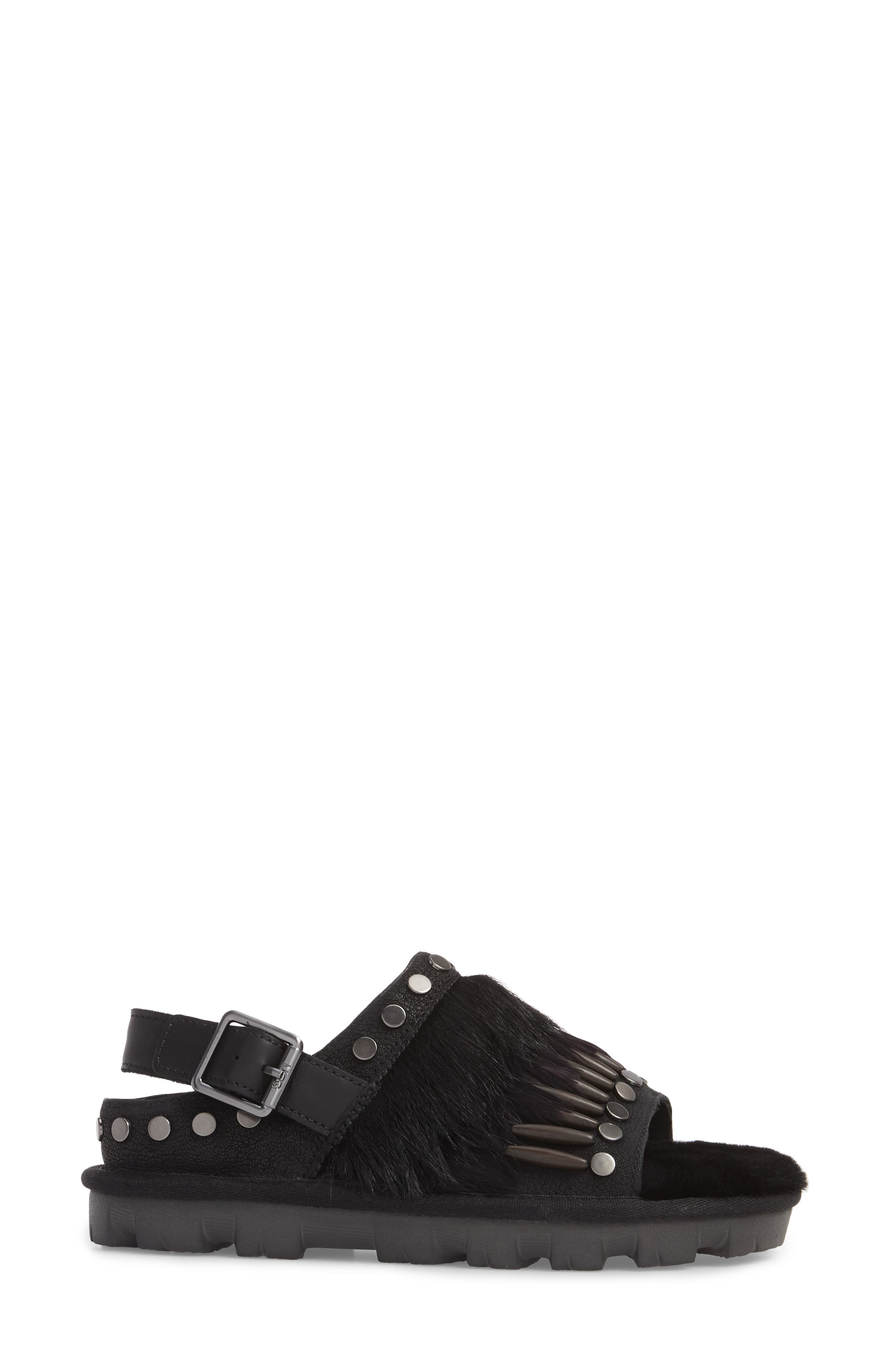 Biker Chic Genuine Shearling & Feather Sandal,                             Alternate thumbnail 3, color,                             Black Leather