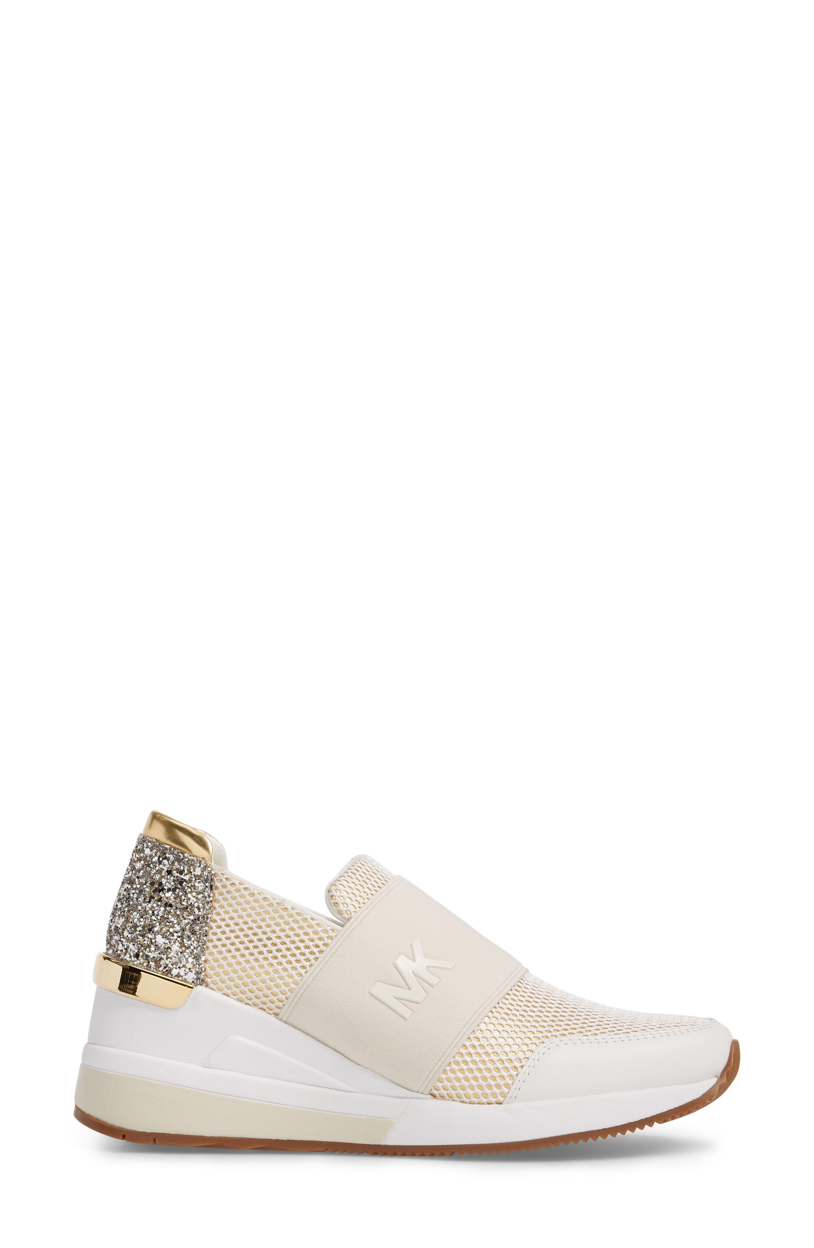 Felix Slip-On Glitter Sneaker,                             Alternate thumbnail 3, color,                             Gold