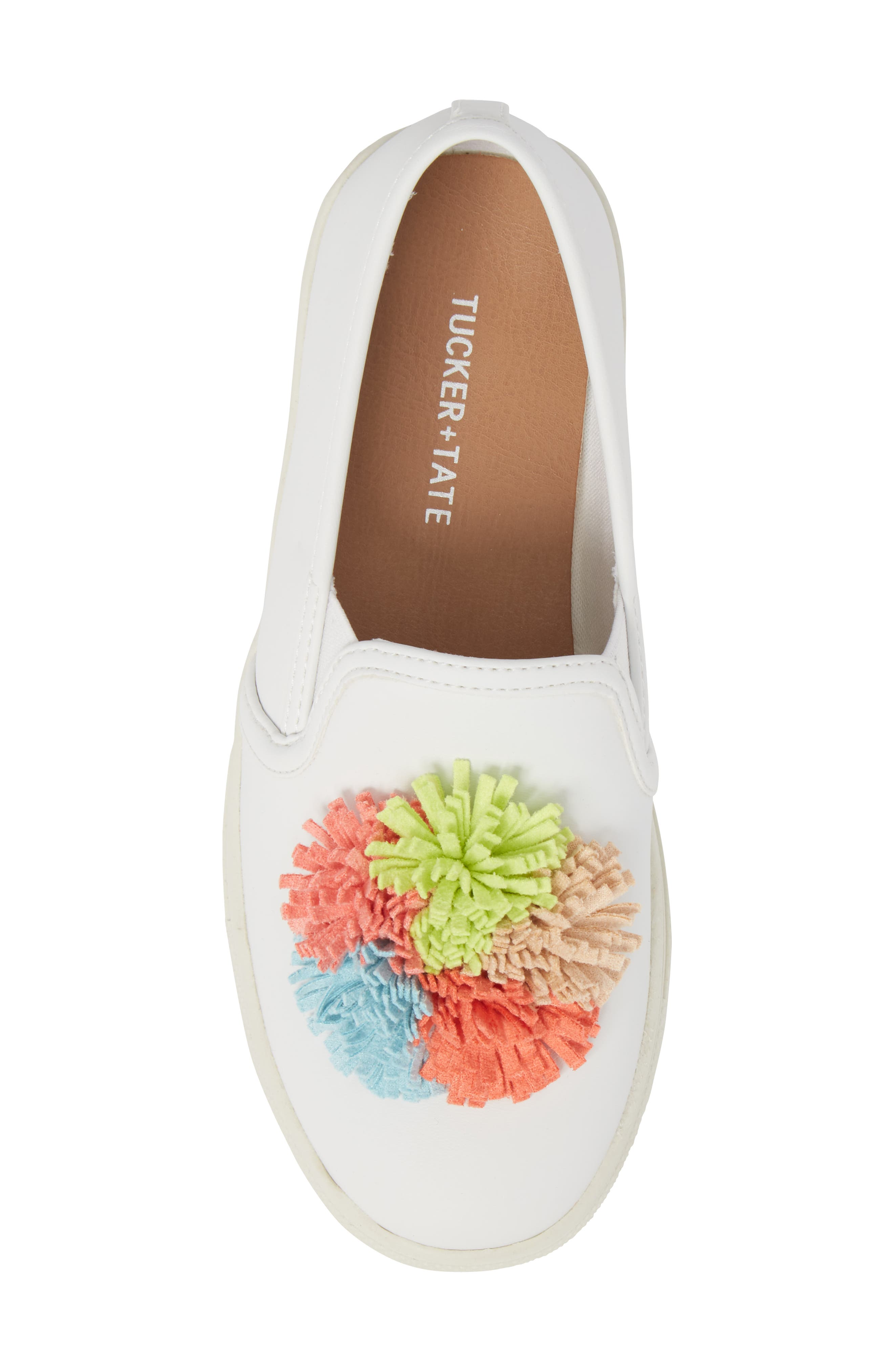 Twiny Pompom Slip-On Sneaker,                             Alternate thumbnail 5, color,                             White Faux Leather
