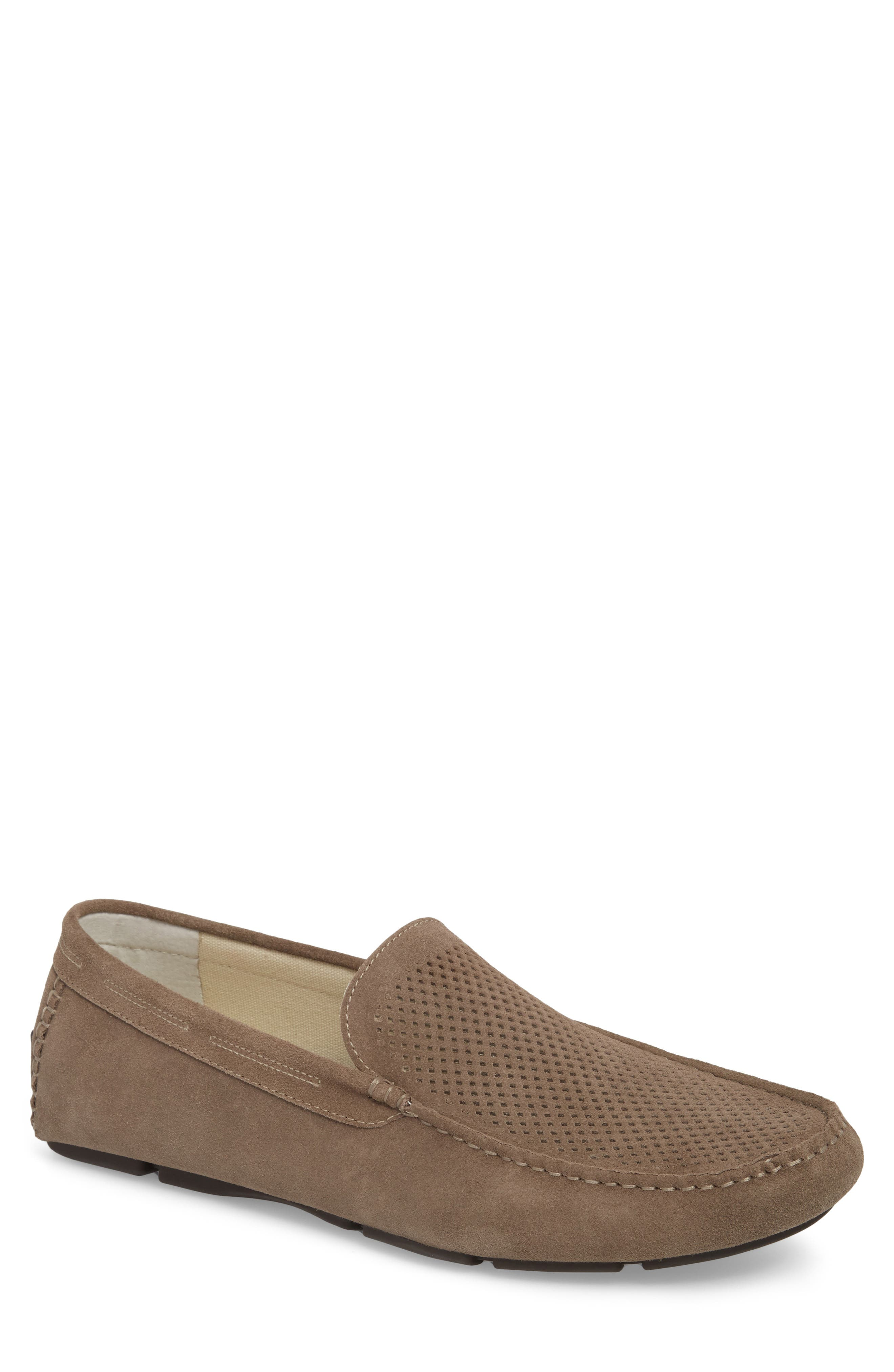 Scottsdale Perforated Driving Moccasin,                             Main thumbnail 1, color,                             Grey Suede