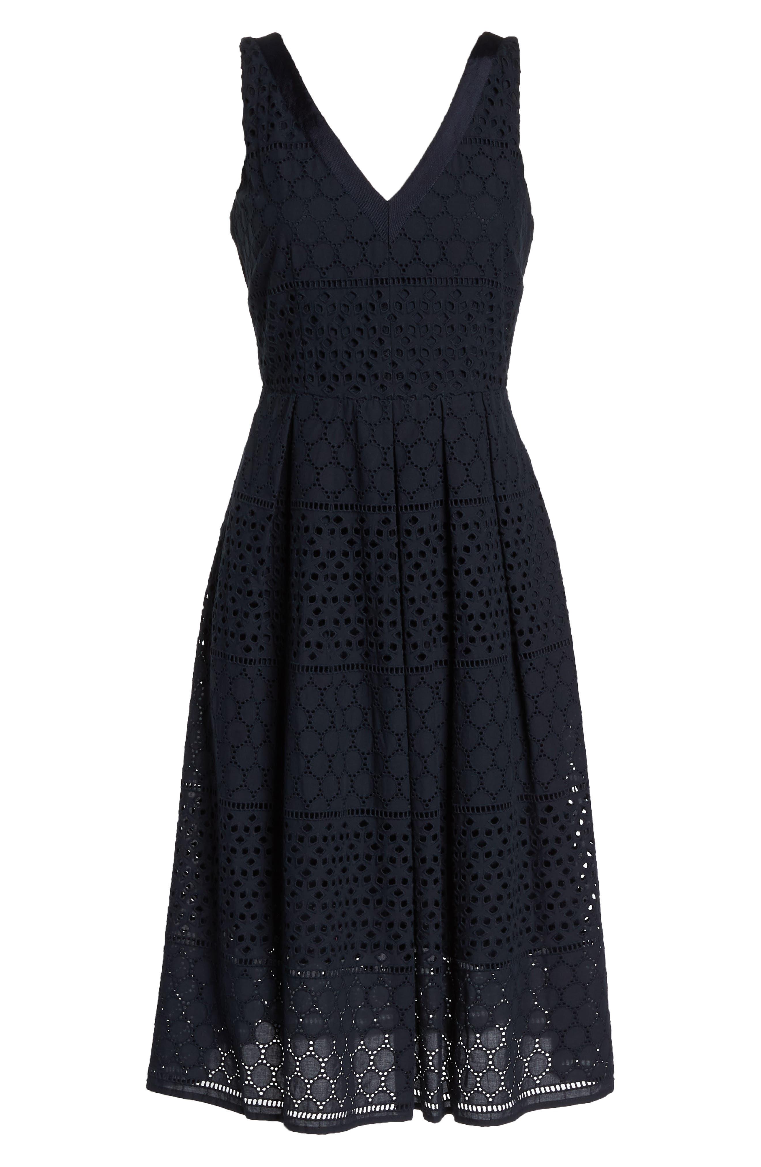 V-Neck Cotton Eyelet Fit & Flare Dress,                             Alternate thumbnail 7, color,                             Navy