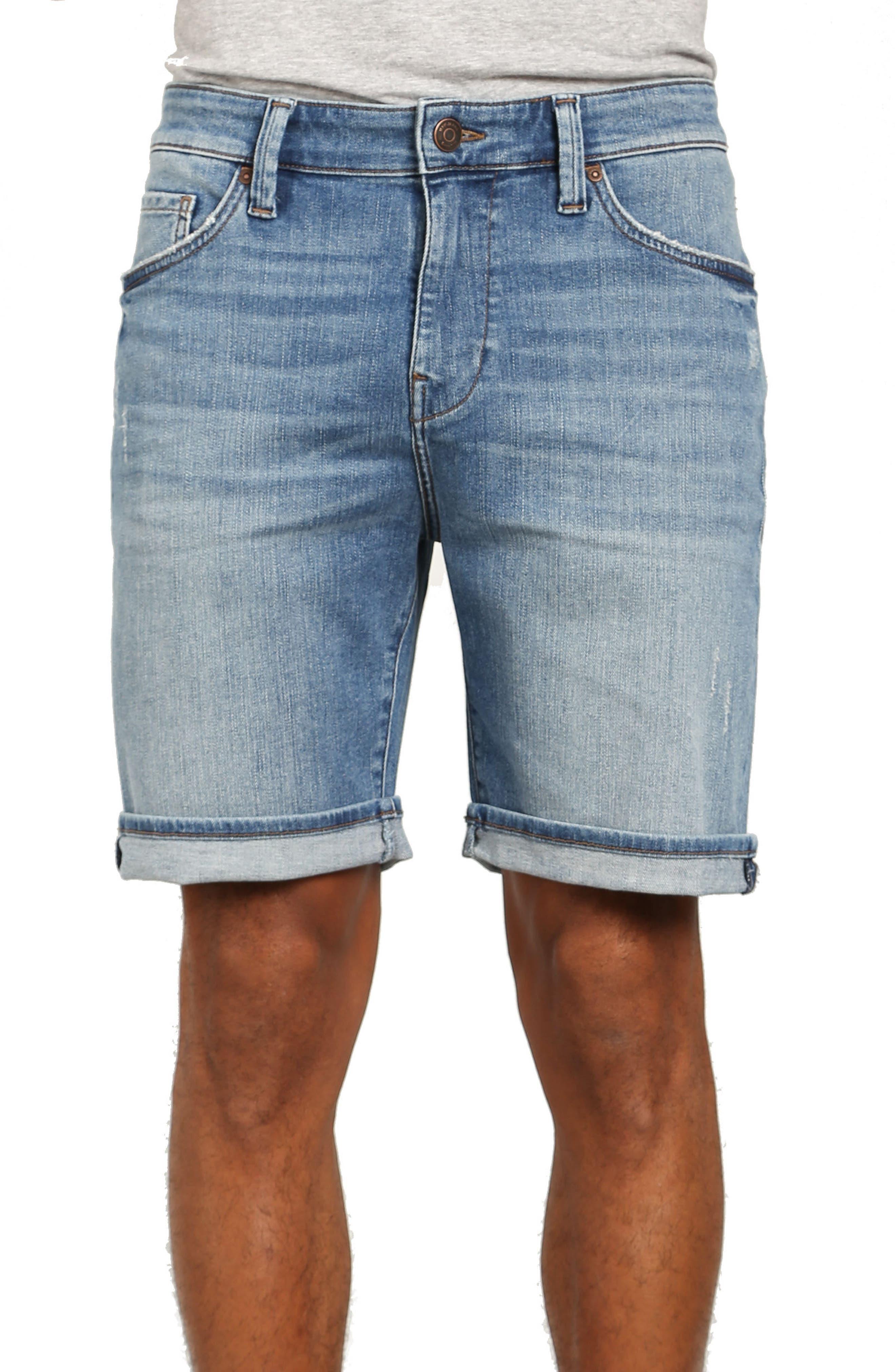 Brian Denim Cutoff Shorts,                         Main,                         color, Mid Used Comfort