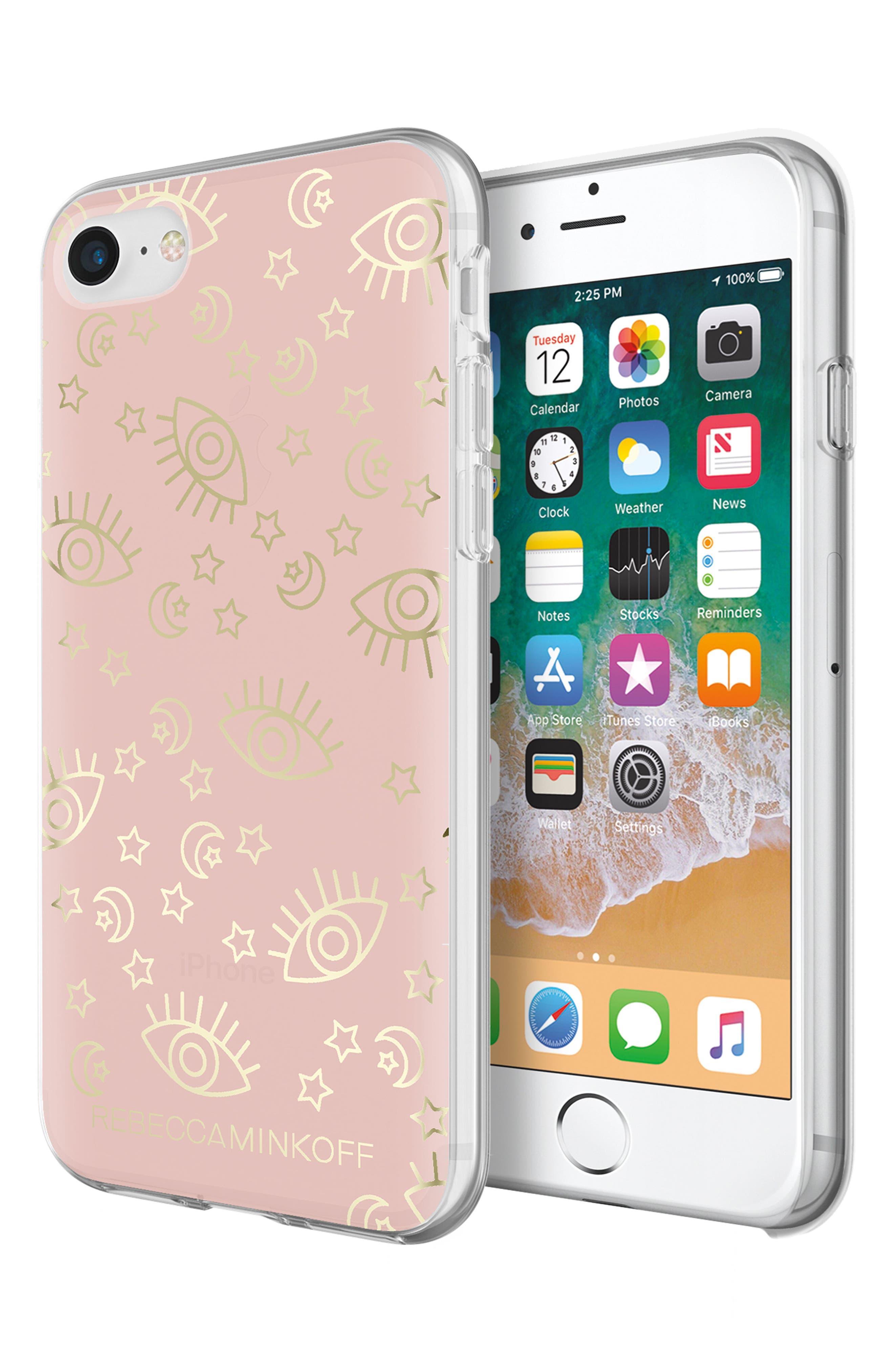 Metallic Galaxy Icon iPhone 7/8 & 7/8 Plus Case,                             Alternate thumbnail 3, color,                             Rose Gold/ Gold Foil
