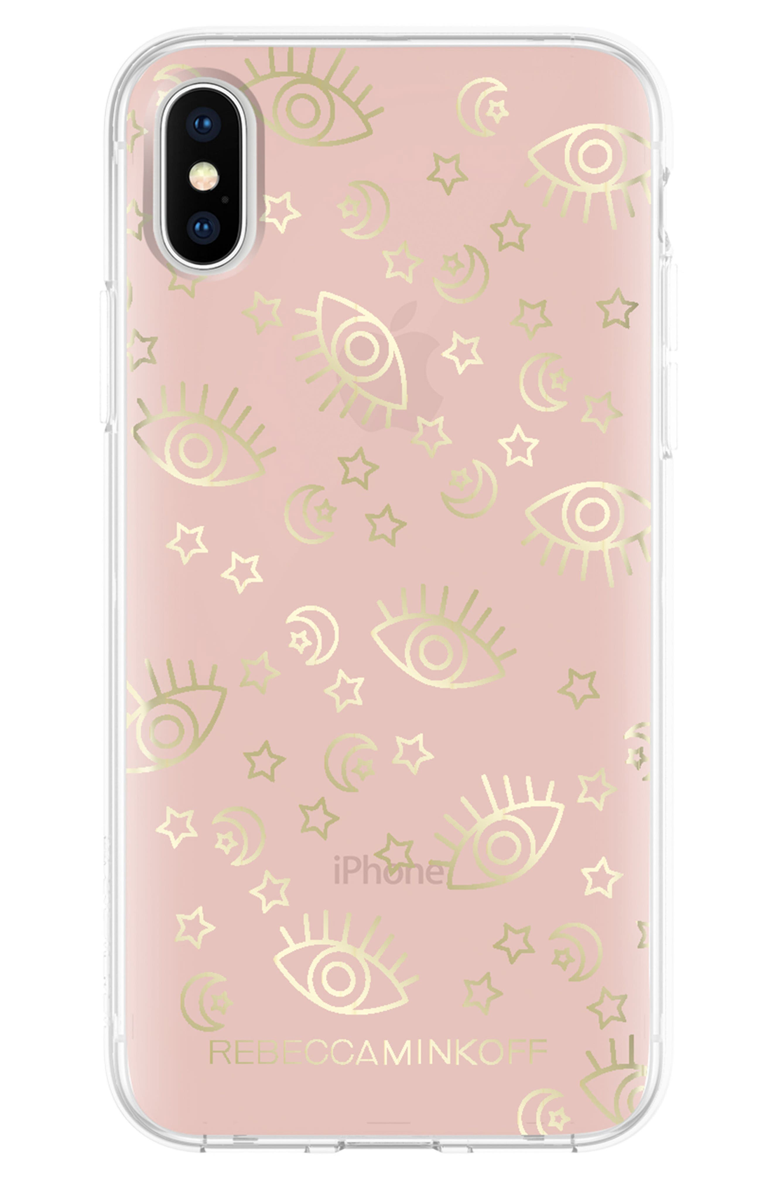 Metallic Galaxy Icon iPhone X Case,                         Main,                         color, Rose Gold/ Gold Foil