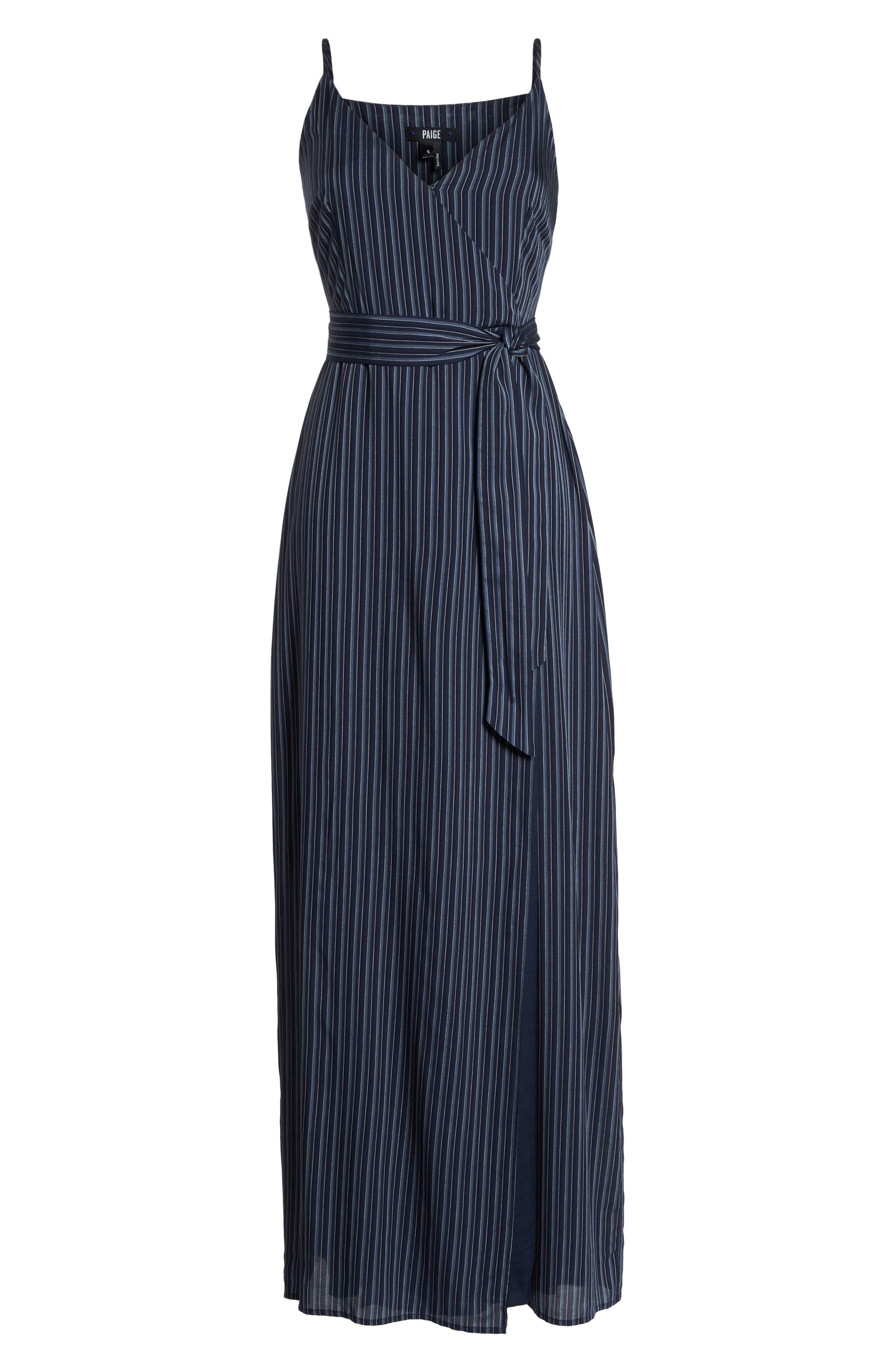 Regina Stripe Maxi Wrap Dress,                             Alternate thumbnail 7, color,                             Rich Navy Multi