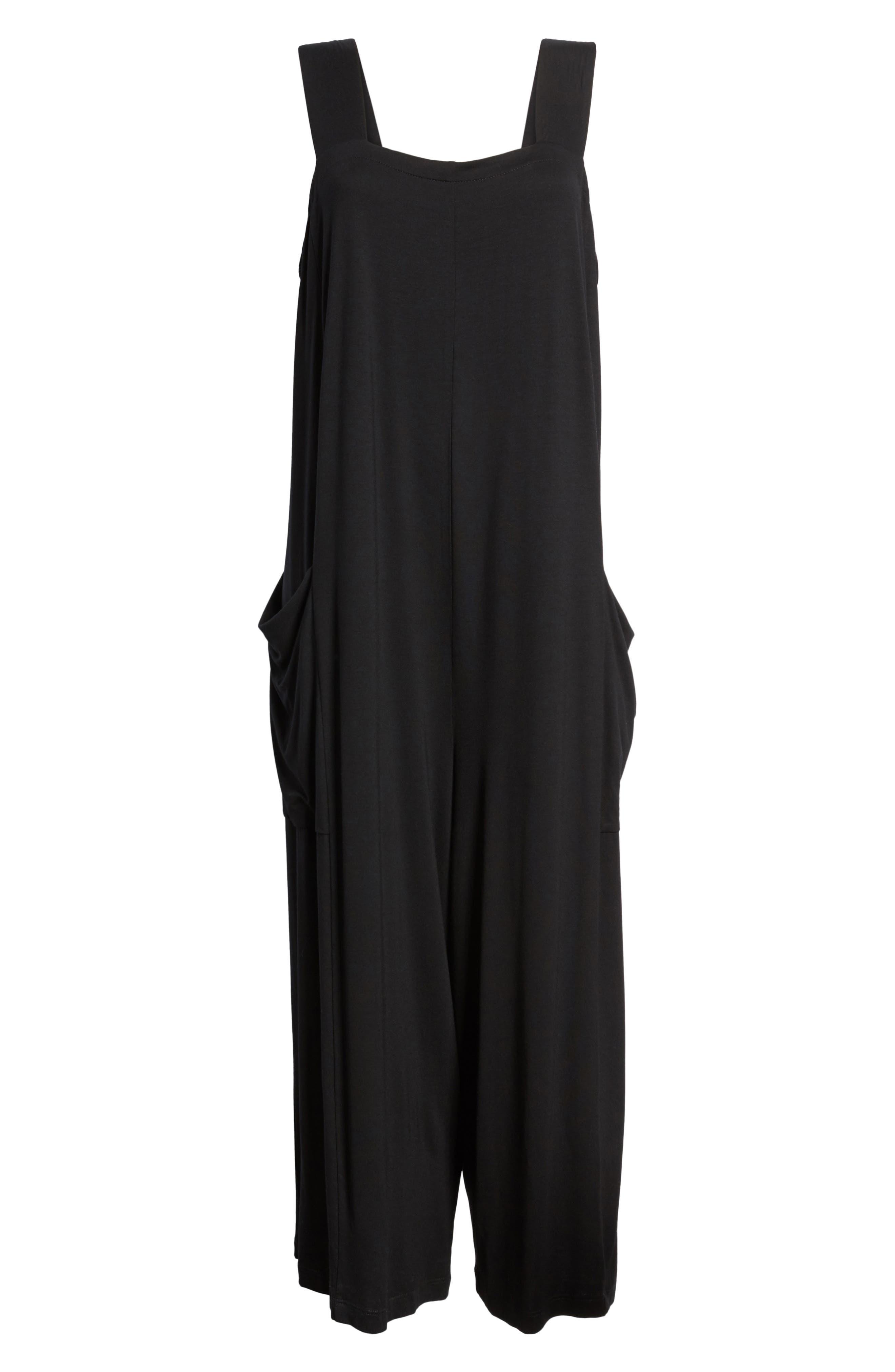 Crop Jersey Jumpsuit,                             Alternate thumbnail 7, color,                             Black