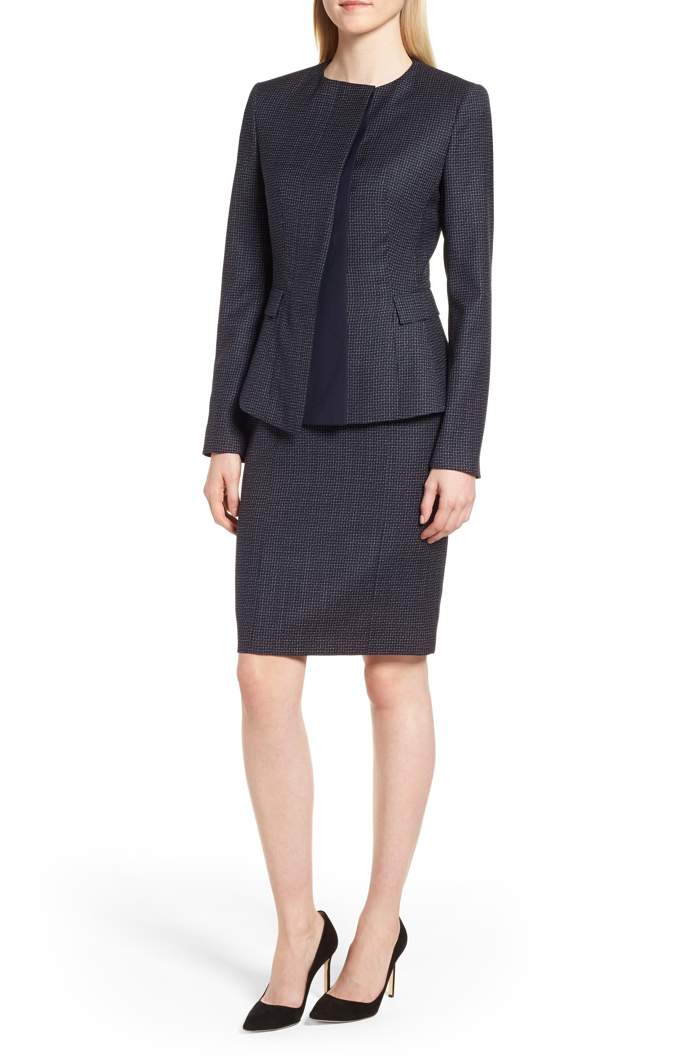 Alternate Image 7  - BOSS Dibena Windowpane Sheath Dress (Regular & Petite)