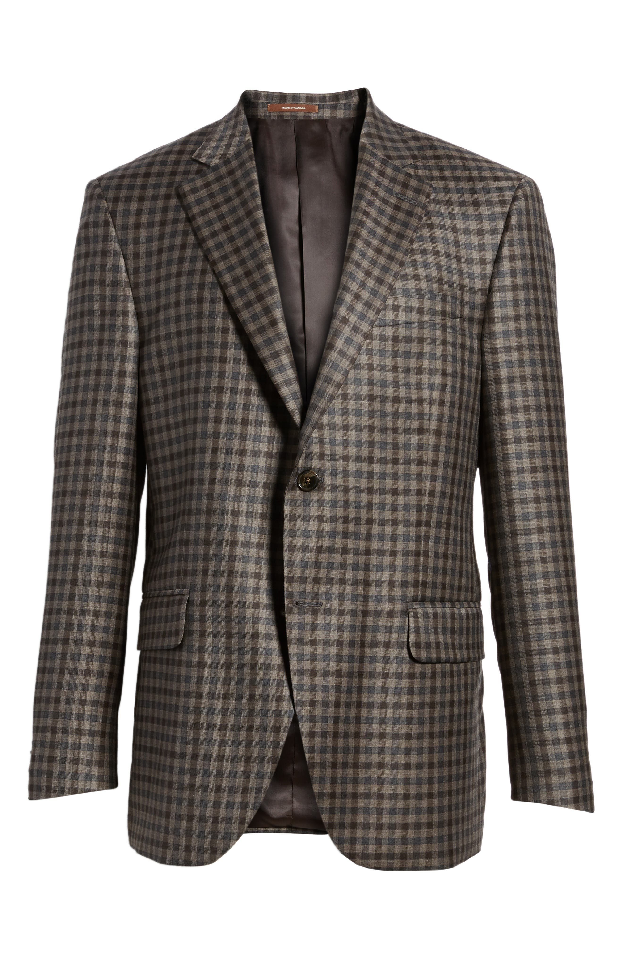 Classic Fit Check Wool Sport Coat,                             Alternate thumbnail 6, color,                             Brown/Grey