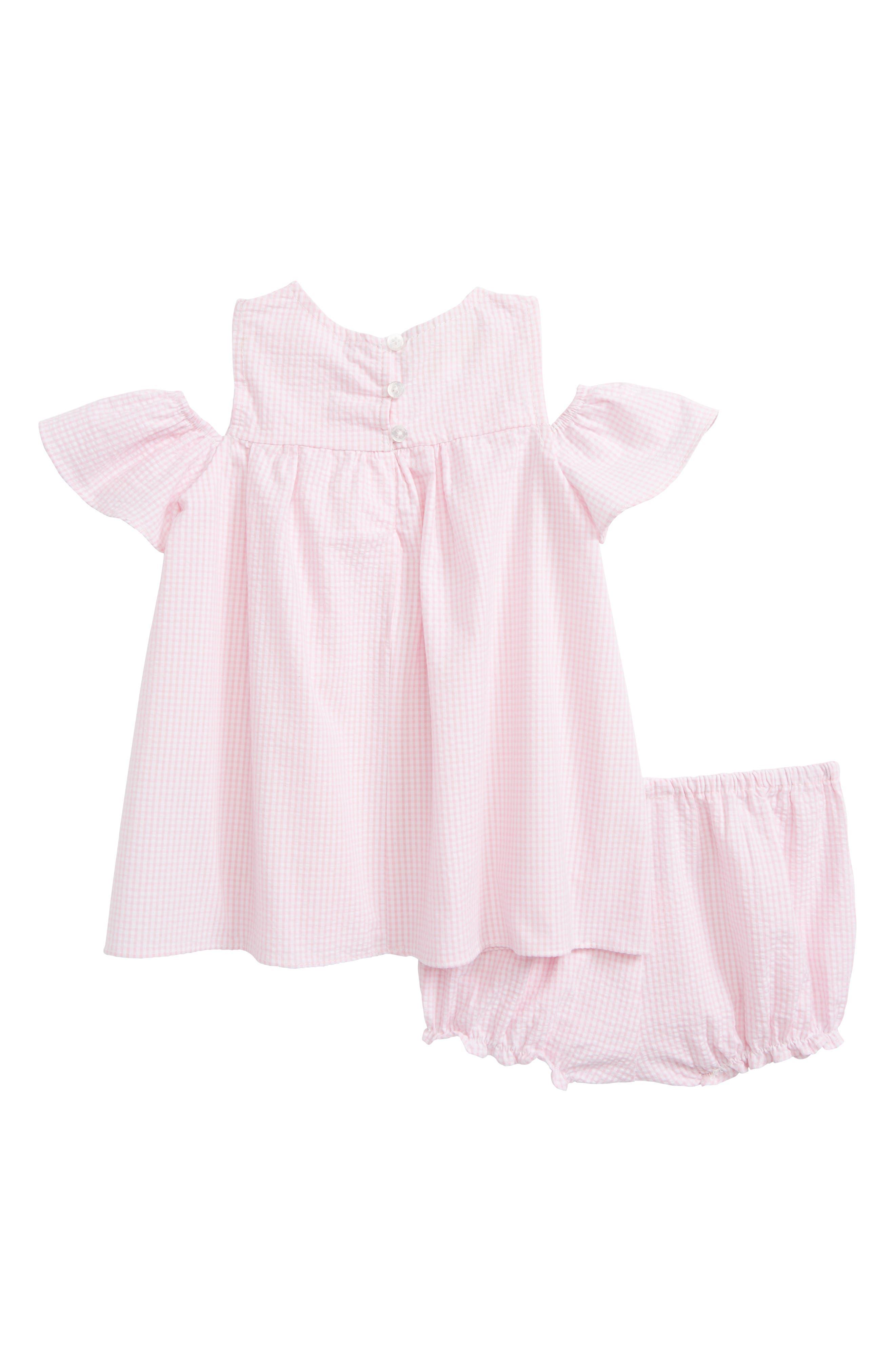 Seersucker Cold Shoulder Dress,                             Alternate thumbnail 2, color,                             Pink White