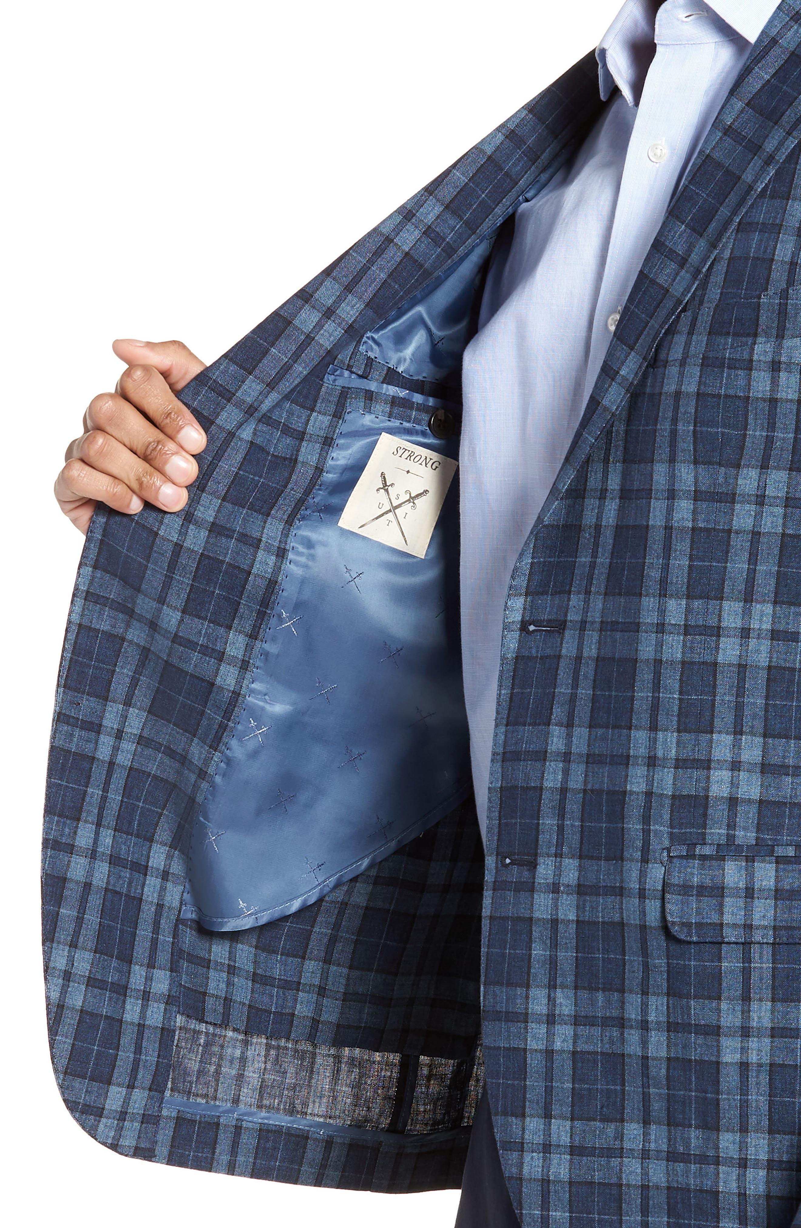 Vanquish Trim Fit Plaid Linen Sport Coat,                             Alternate thumbnail 4, color,                             Blue