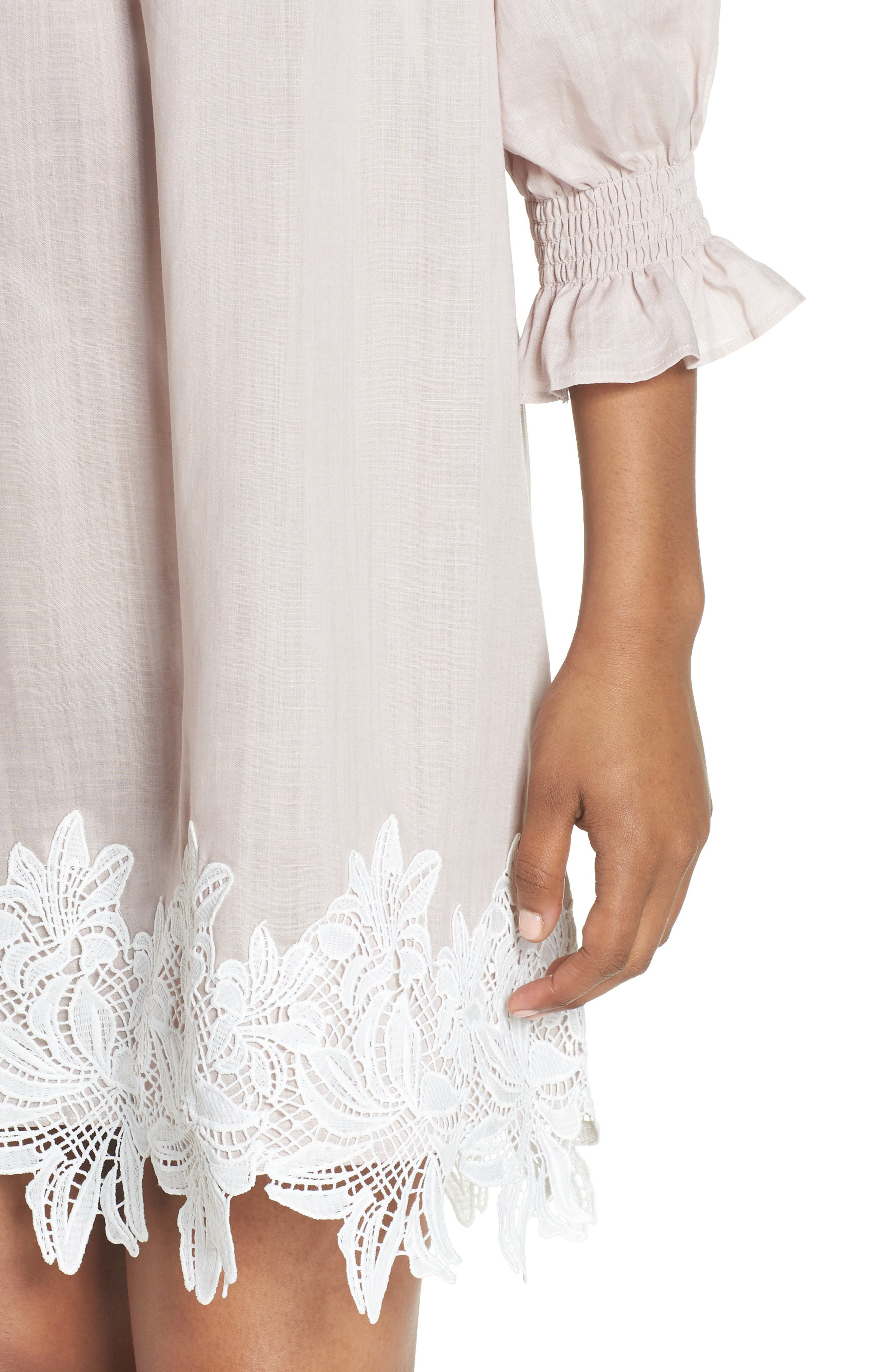 Hudson Off the Shoulder Lace Hem Linen Dress,                             Alternate thumbnail 4, color,                             Pink