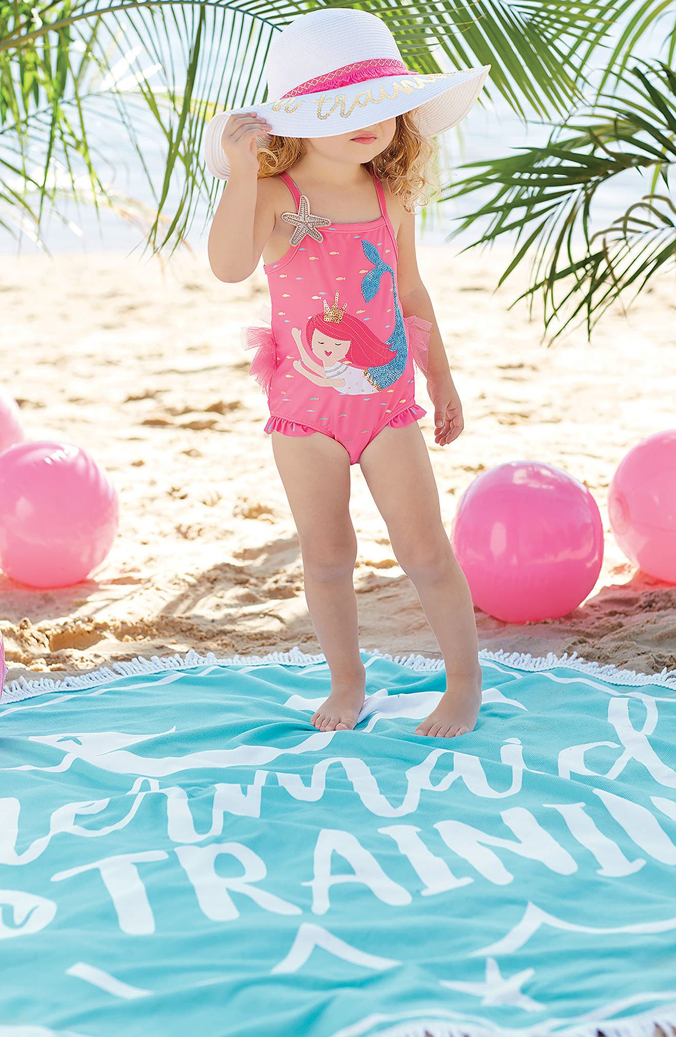 Mermaid in Training Round Beach Blanket,                             Alternate thumbnail 2, color,