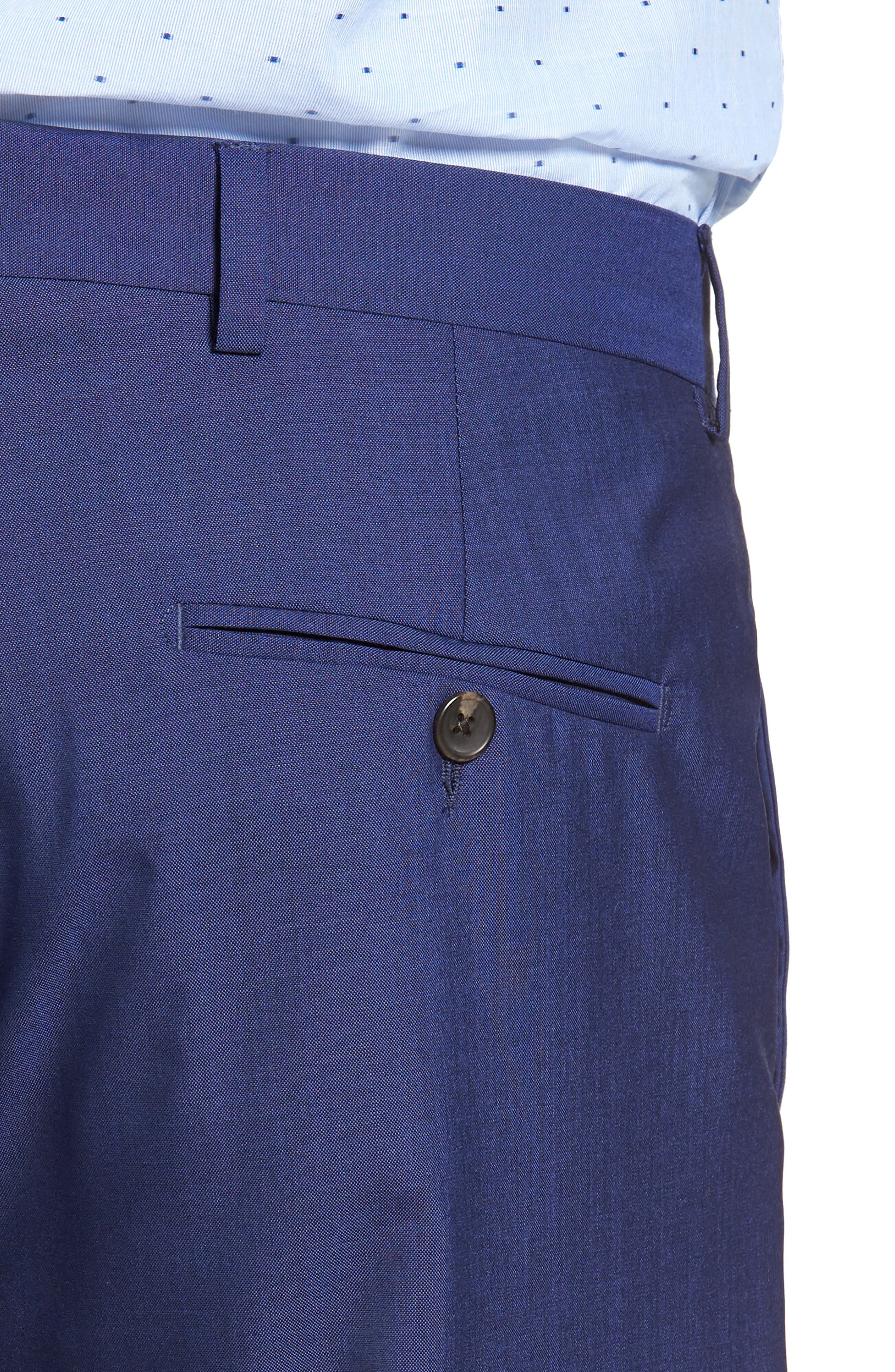 Dagger Flat Front Solid Wool Trousers,                             Alternate thumbnail 4, color,                             High Blue