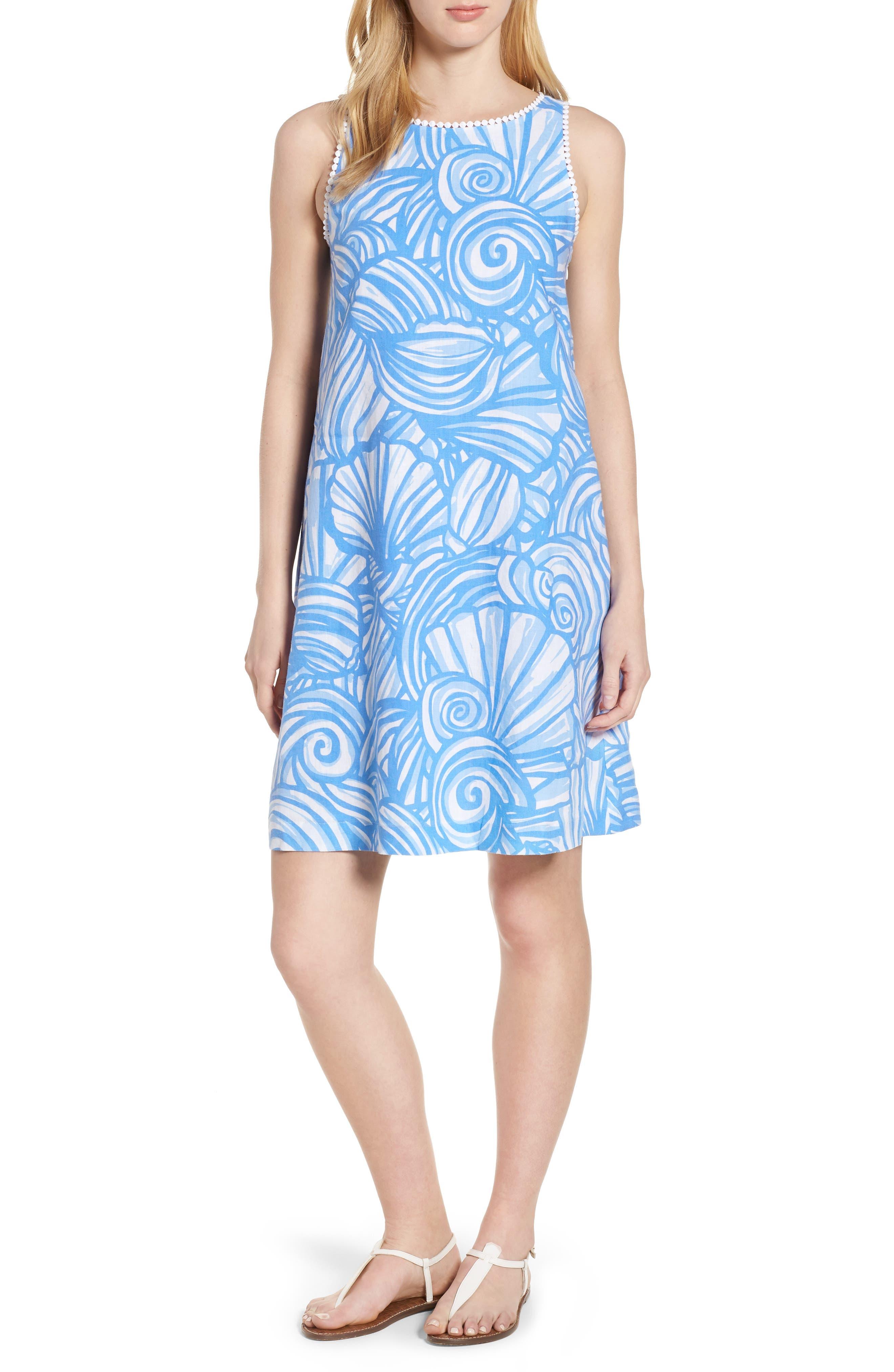 Nautilus Print Shift Dress,                             Main thumbnail 1, color,                             Cornflower