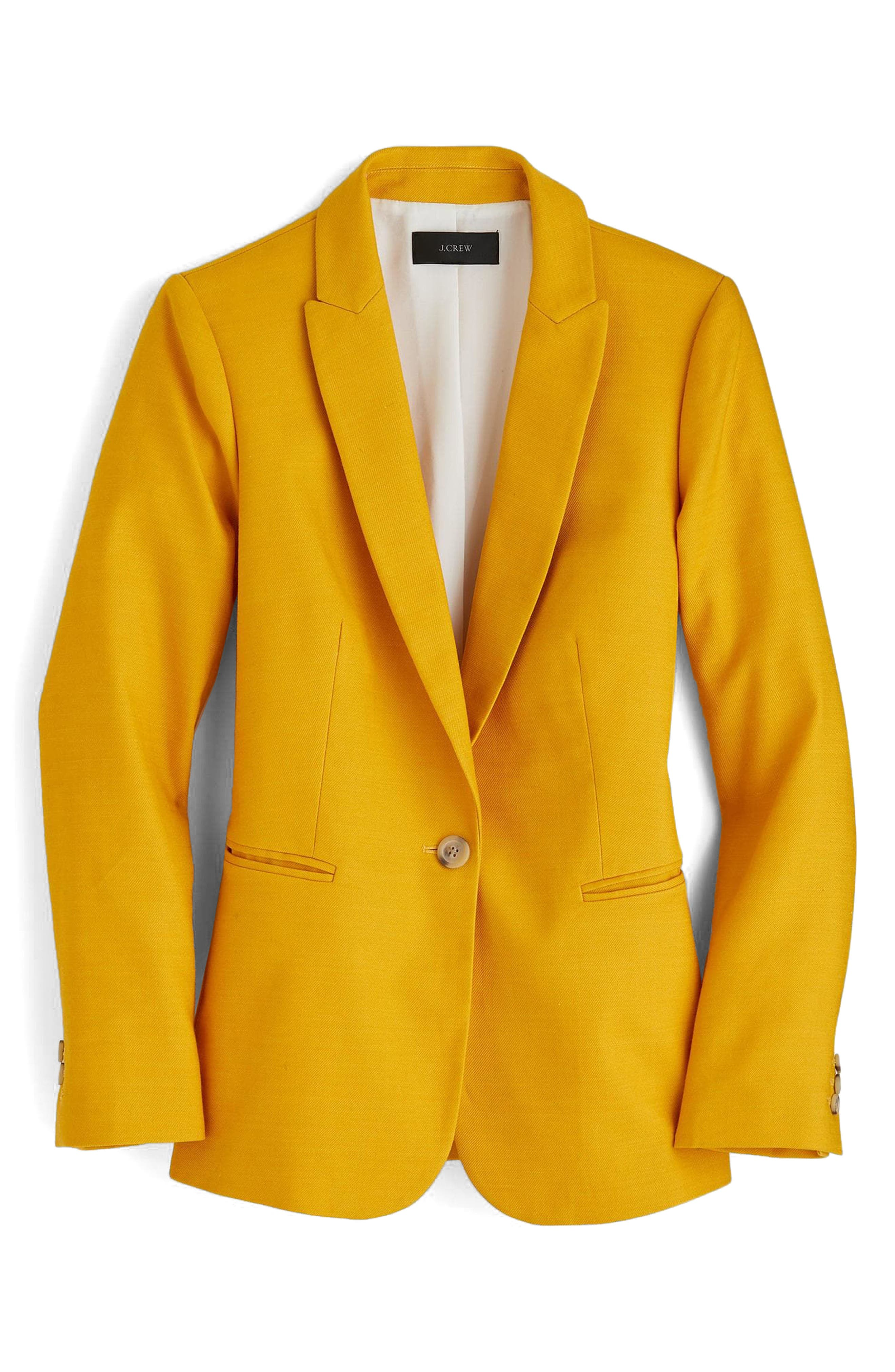 J.Crew Parke Stretch Linen Blend Blazer,                        Main,                         color, Warm Sunflower