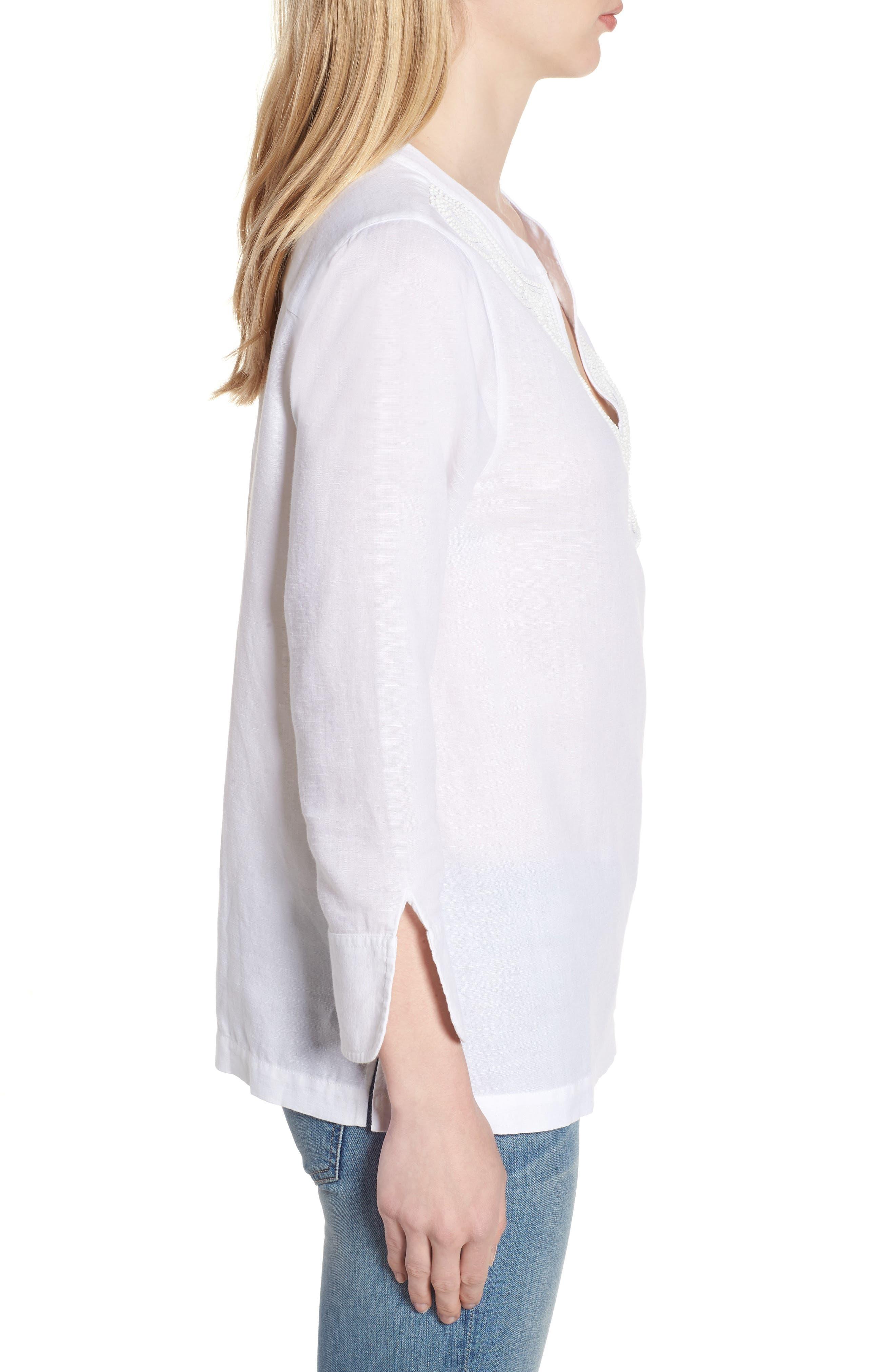 Embellished Tunic Top,                             Alternate thumbnail 3, color,                             White Cap