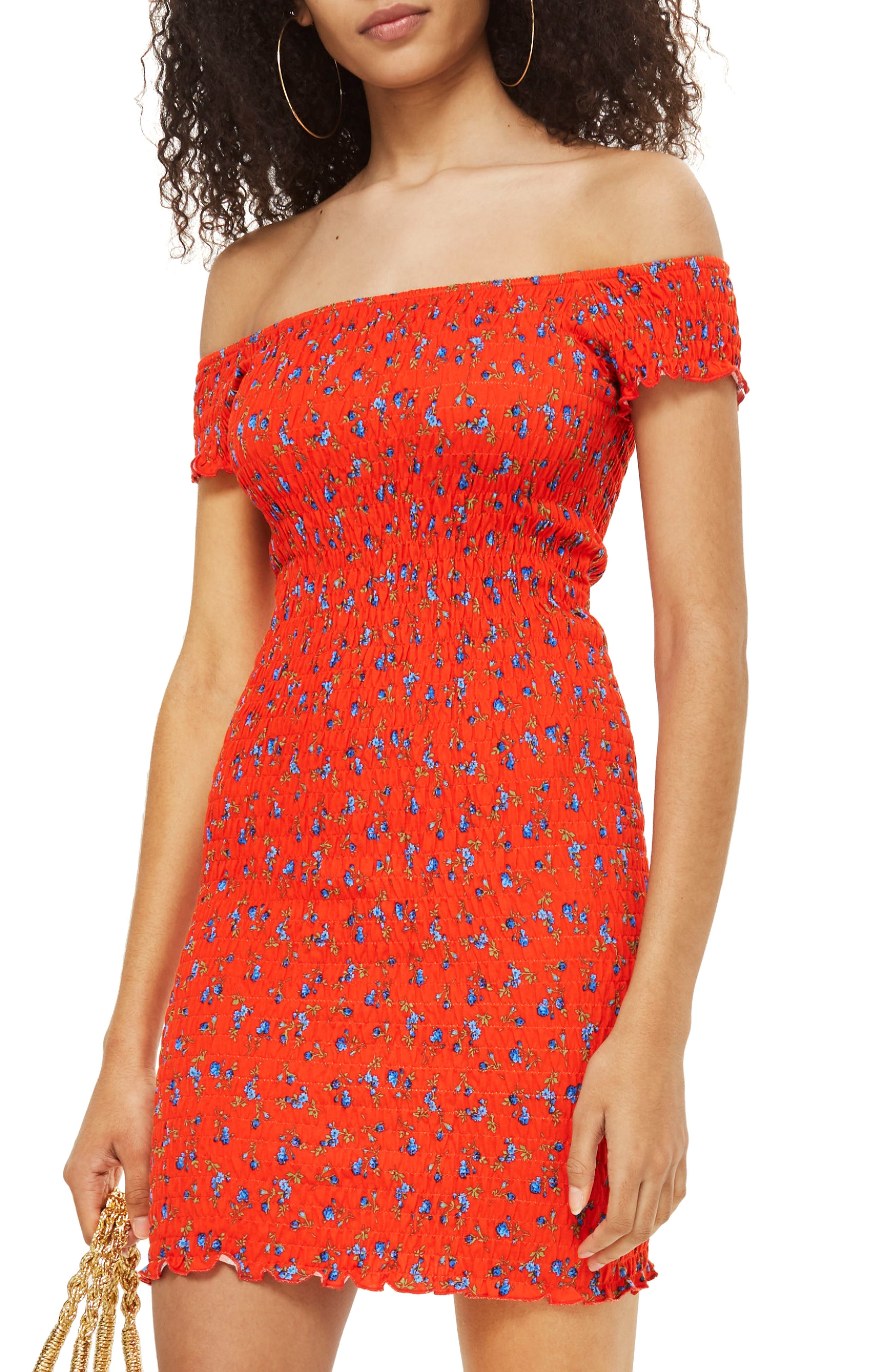 Smocked Ditsy Body-Con Dress,                         Main,                         color, Red Multi