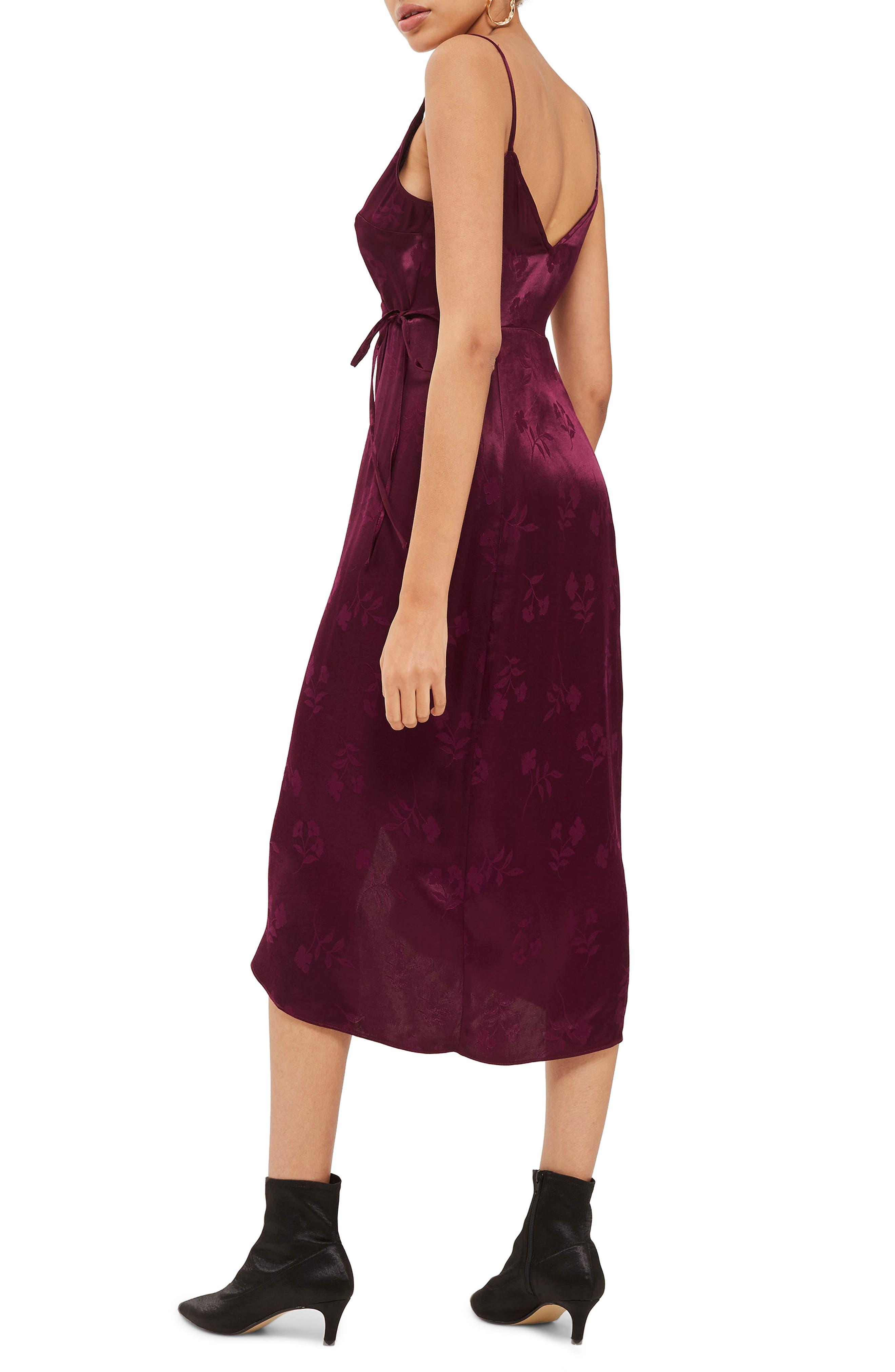 Jacquard Plunge Neck Wrap Dress,                             Alternate thumbnail 3, color,                             Burgundy