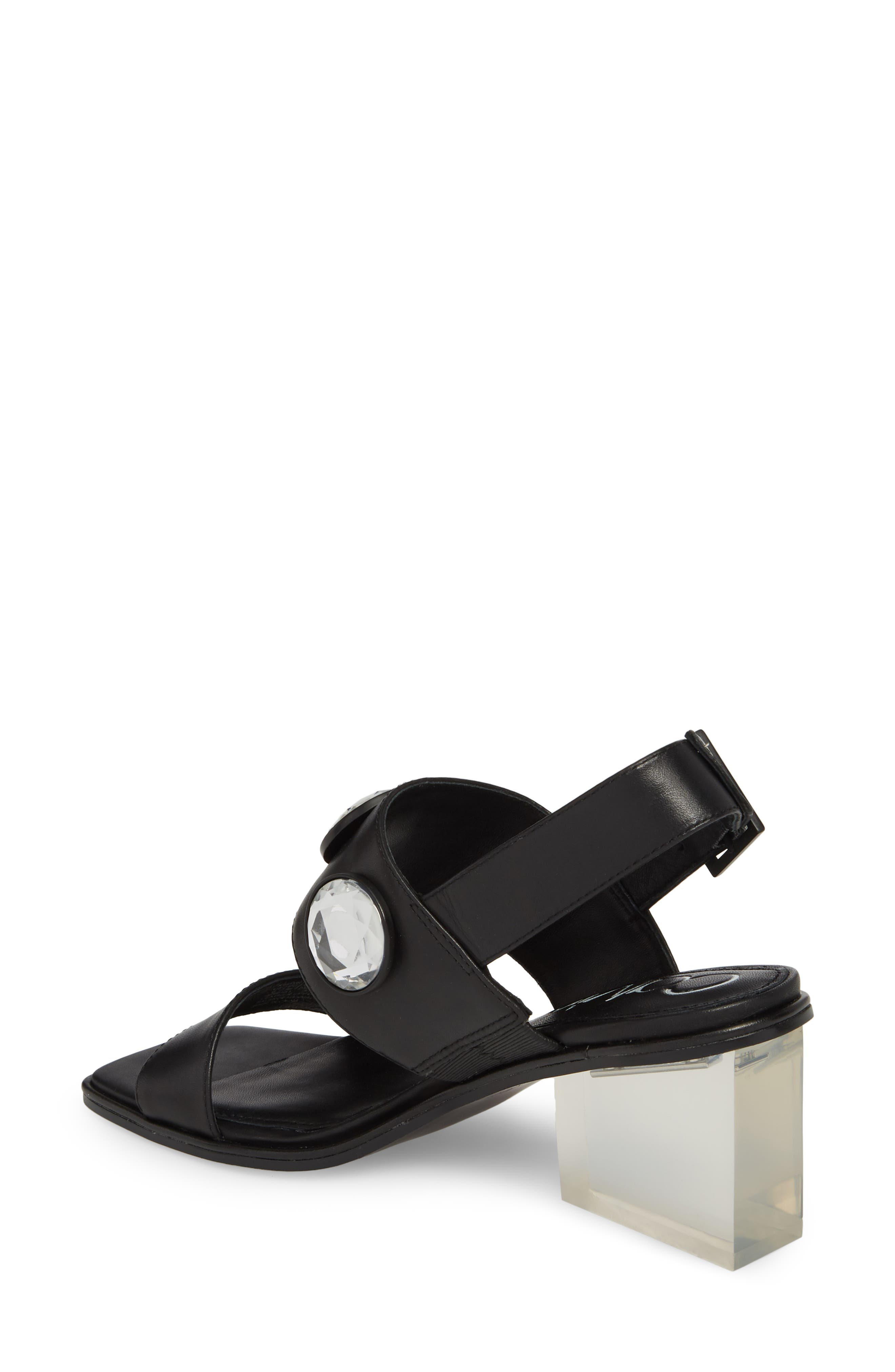 Kadyn Slingback Sandal,                             Alternate thumbnail 2, color,                             Black Leather