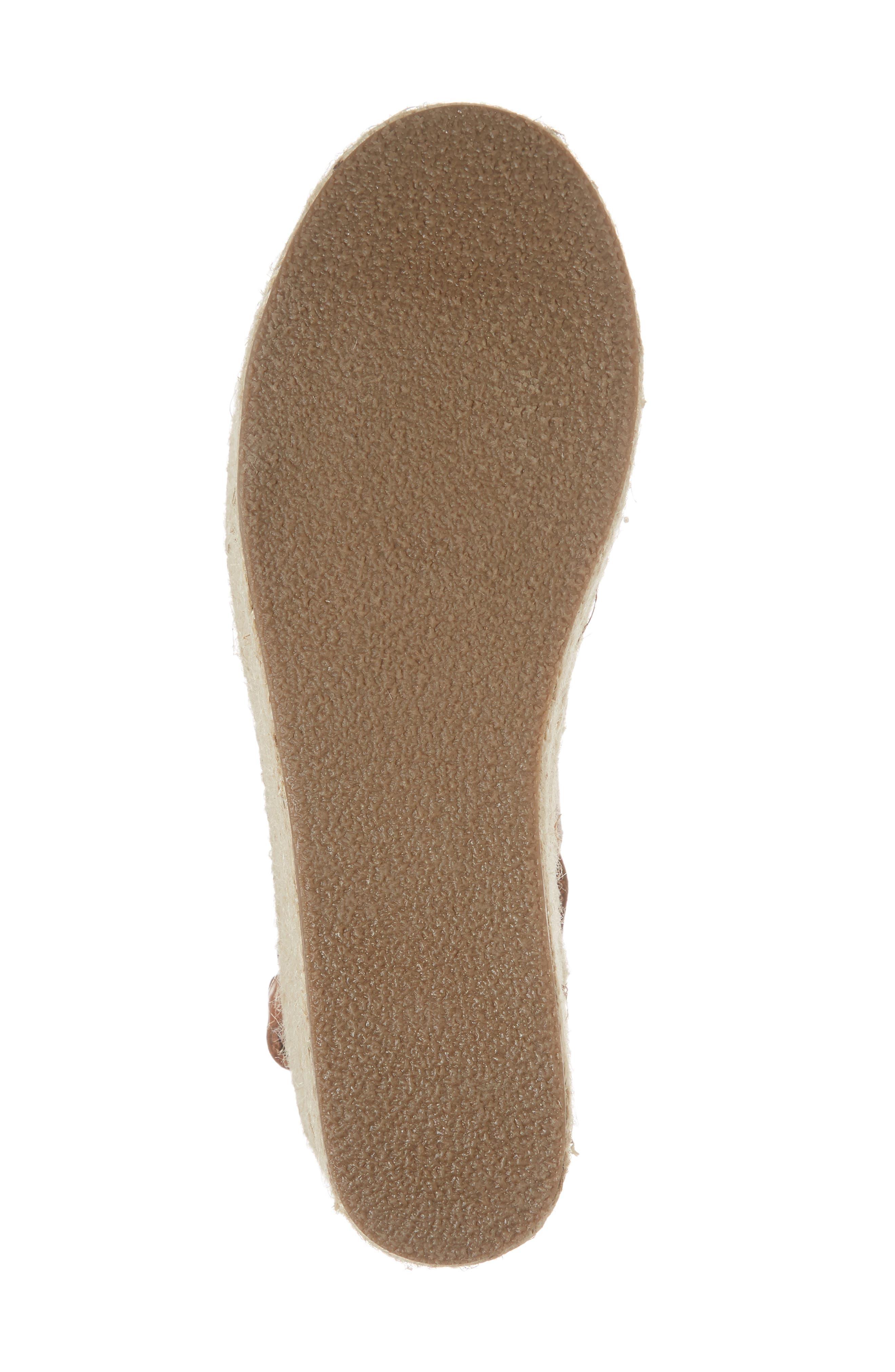 Cali Espadrille Platform Sandal,                             Alternate thumbnail 6, color,                             Cognac Leather
