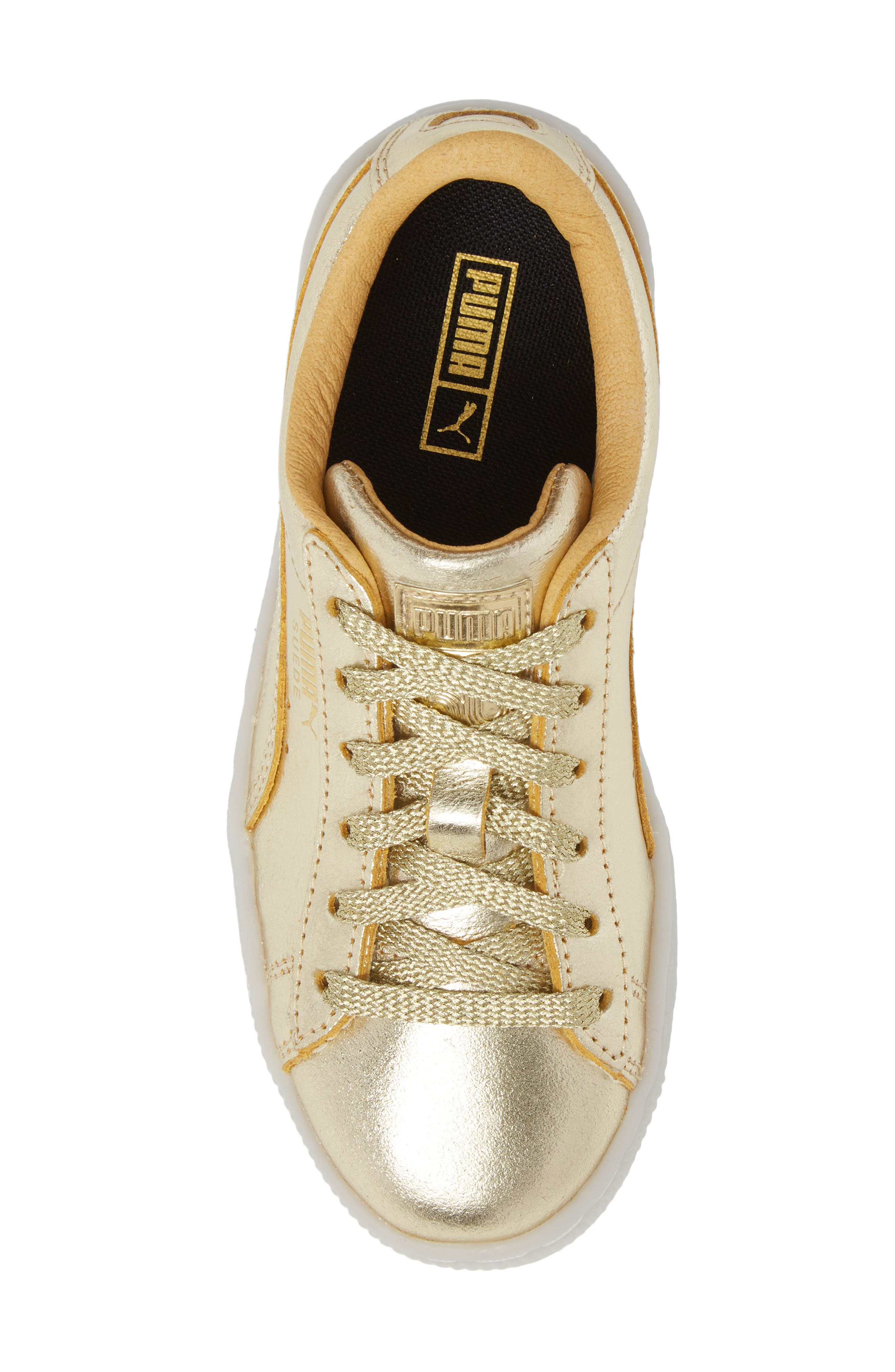 Suede 50th Anniversary Metallic Sneaker,                             Alternate thumbnail 5, color,                             Gold