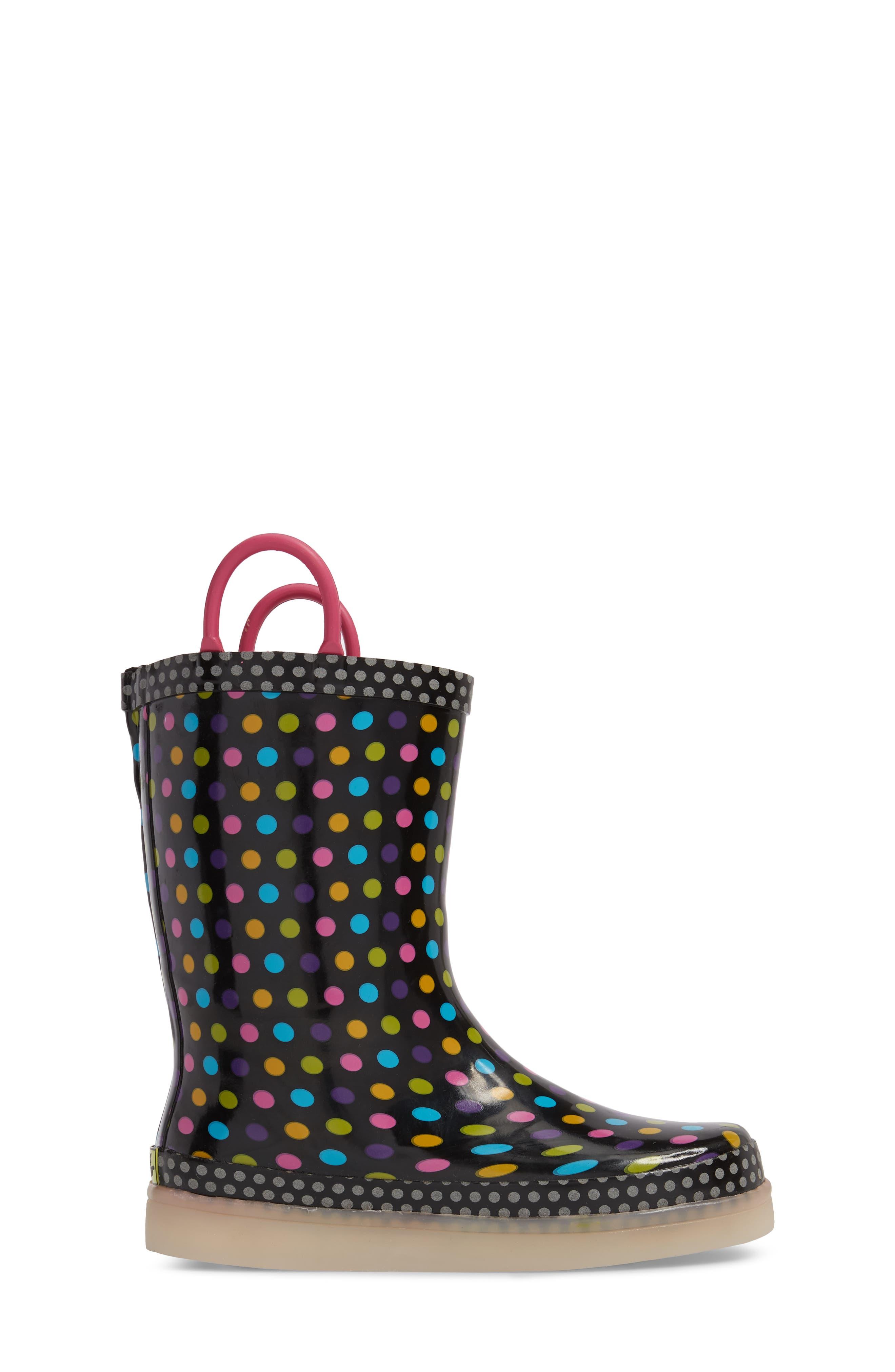 Digital Diva Dot LED Rain Boot,                             Alternate thumbnail 4, color,                             Multi
