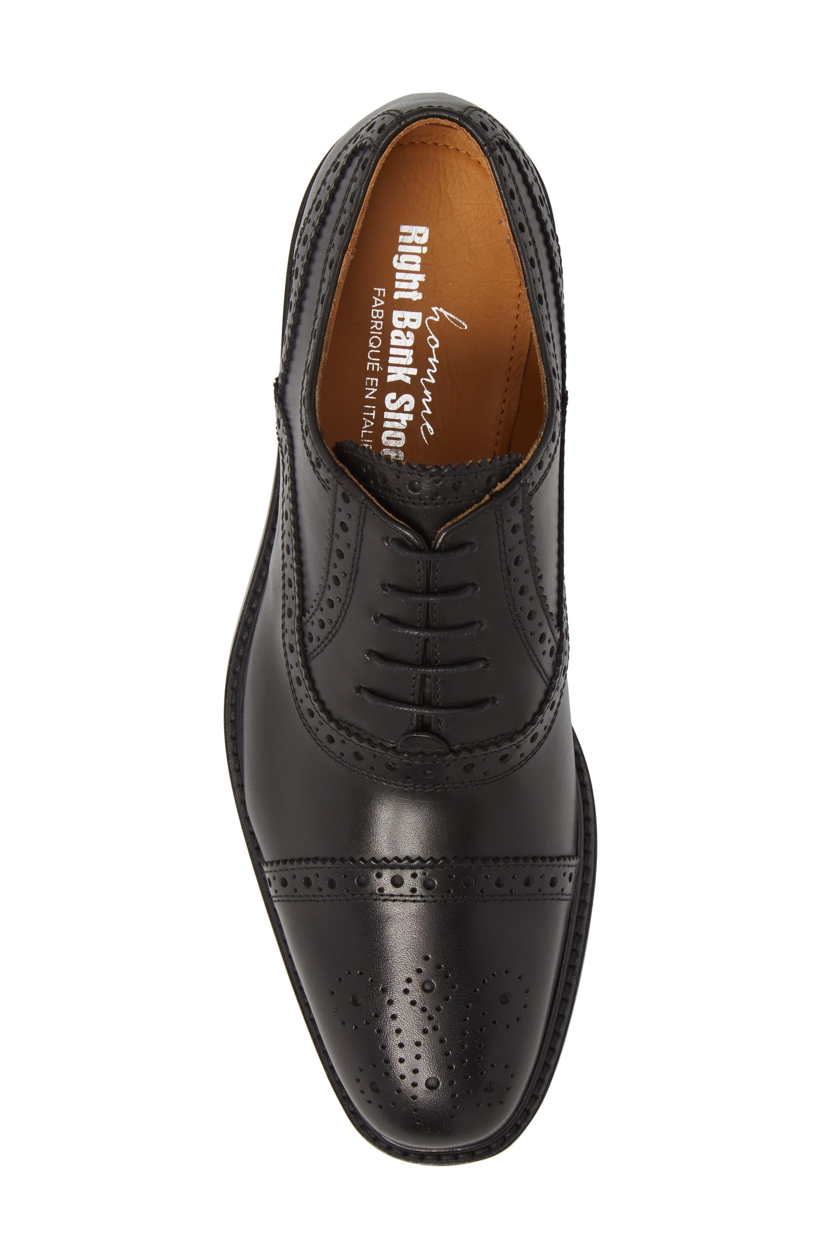 Index Cap Toe Oxford,                             Alternate thumbnail 5, color,                             Black Leather