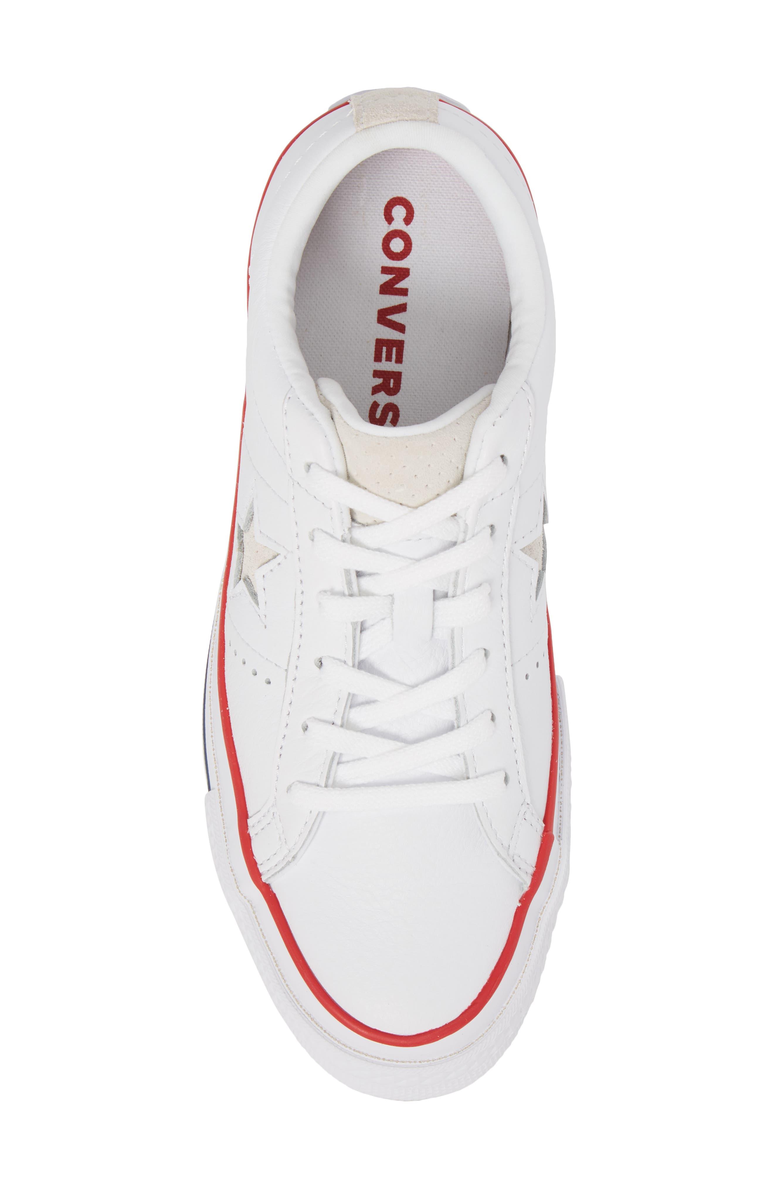 One Star Sneaker,                             Alternate thumbnail 5, color,                             White/ Gym Red