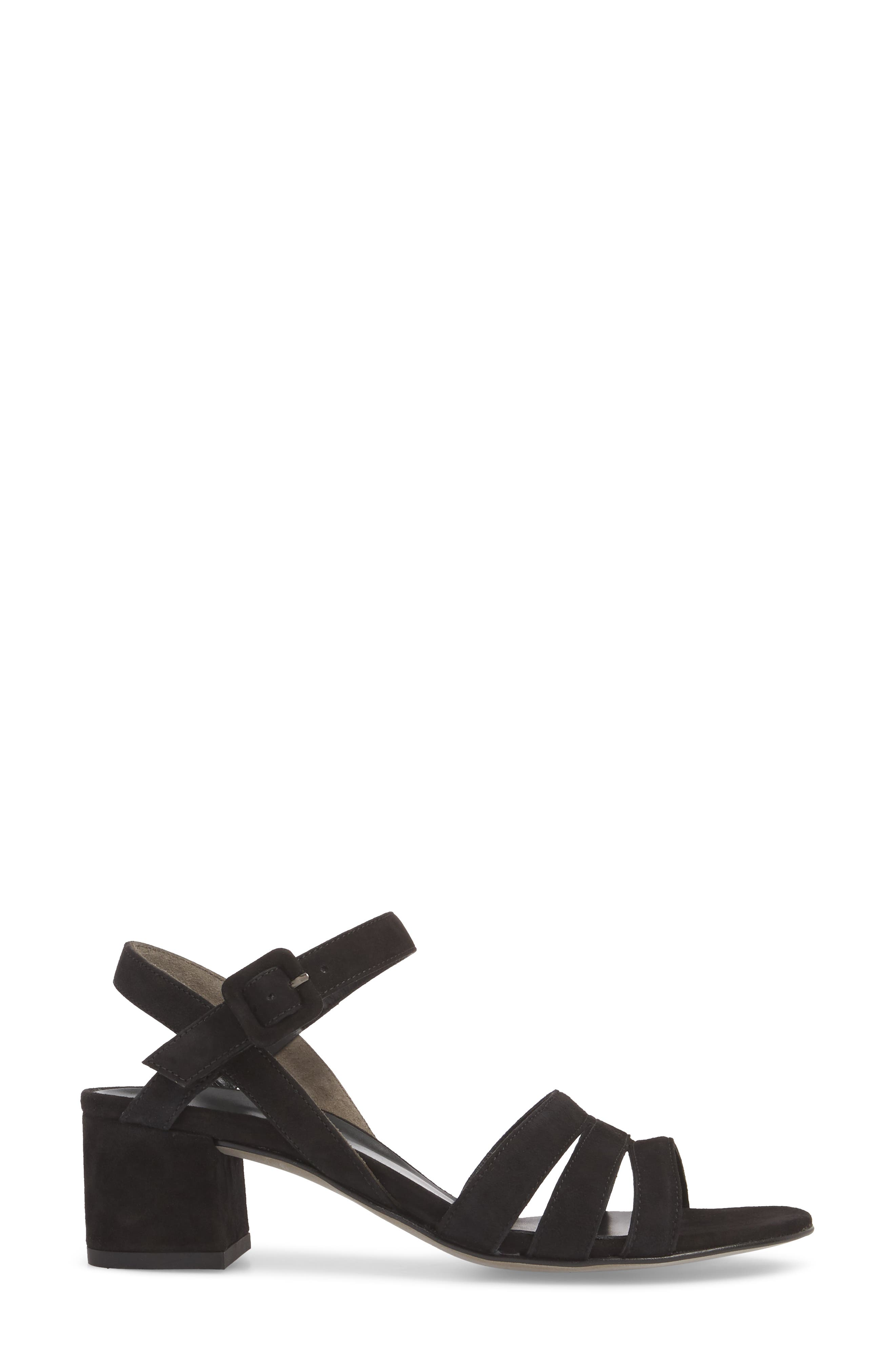 Rosemary Sandal,                             Alternate thumbnail 3, color,                             Black Suede