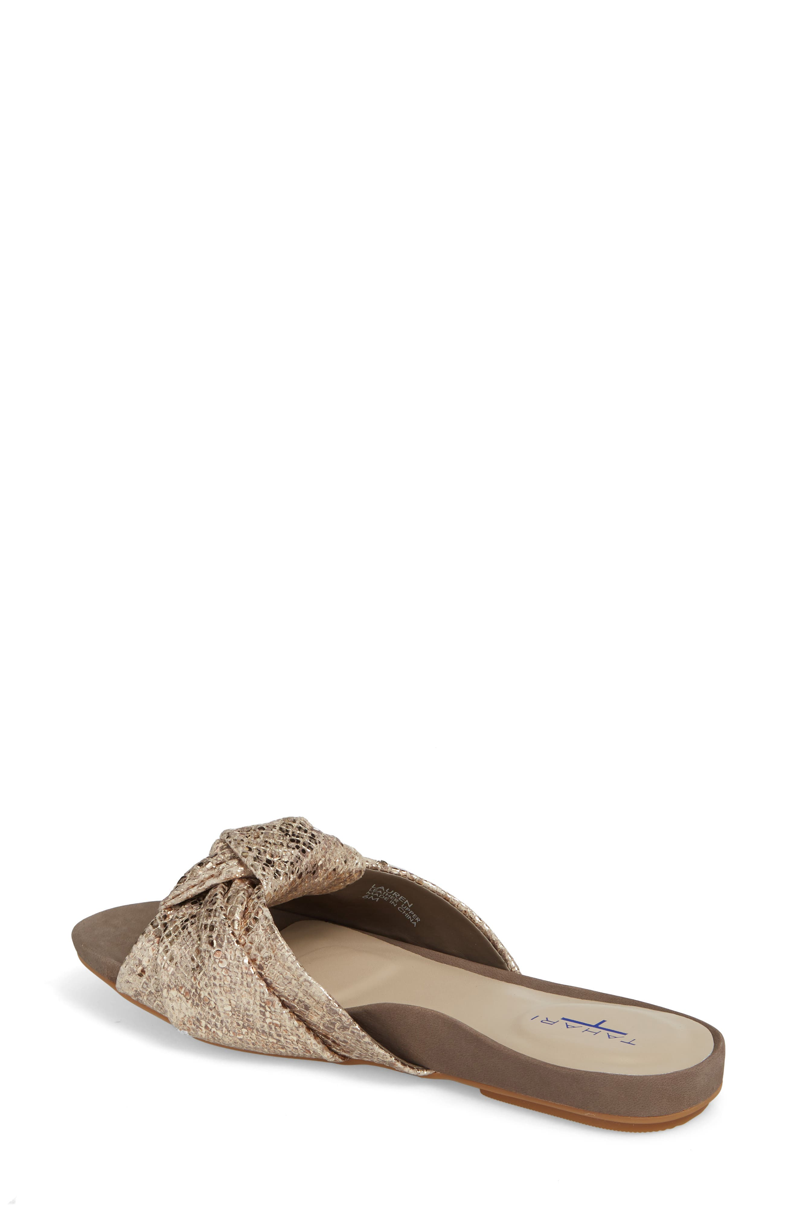 Lauren Slide Sandal,                             Alternate thumbnail 2, color,                             Taupe-Gold Suede