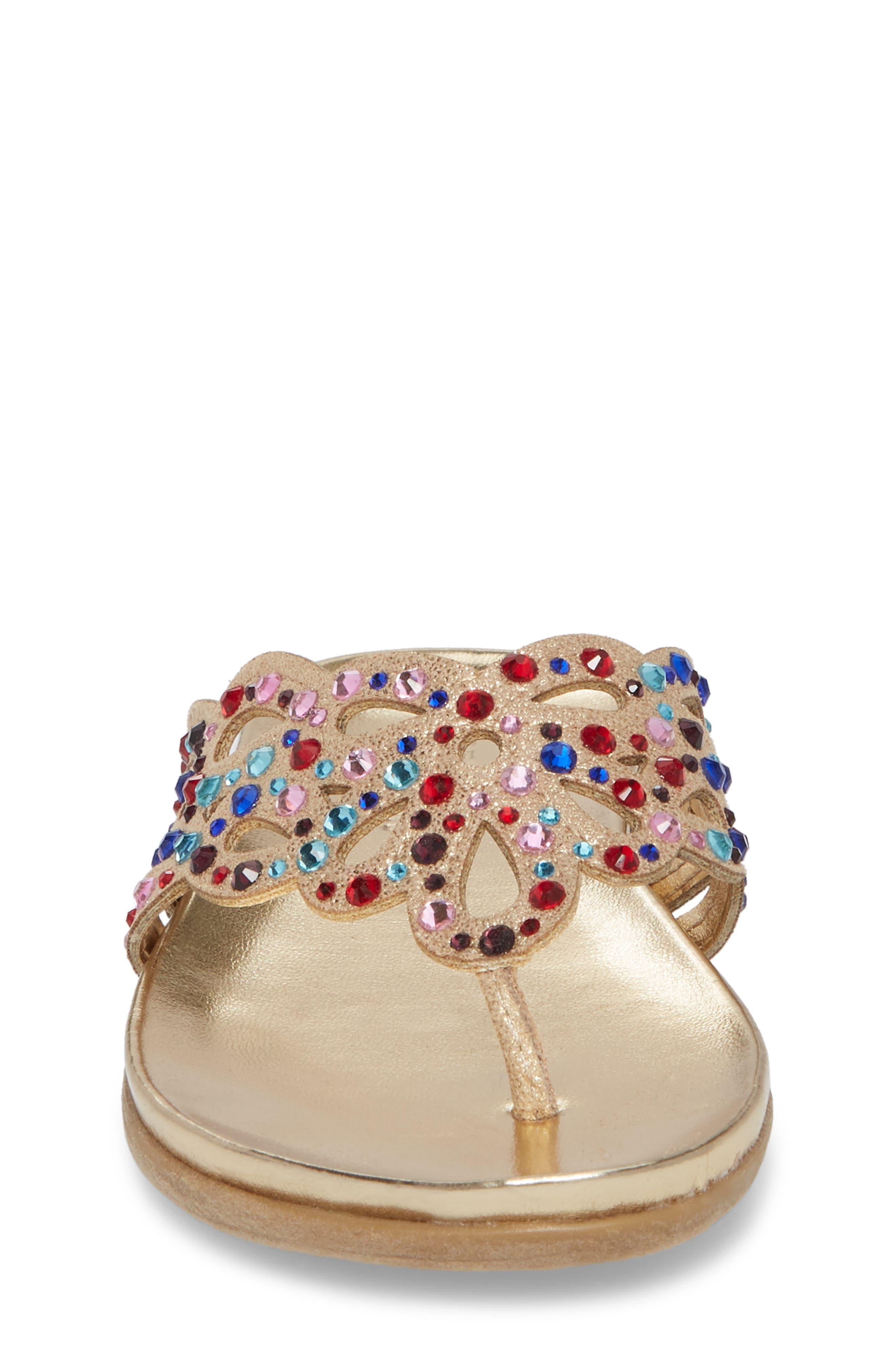 Kenneth Cole New York Flutter Metallic Crystal Thong Sandal,                             Alternate thumbnail 4, color,                             Gold Multi