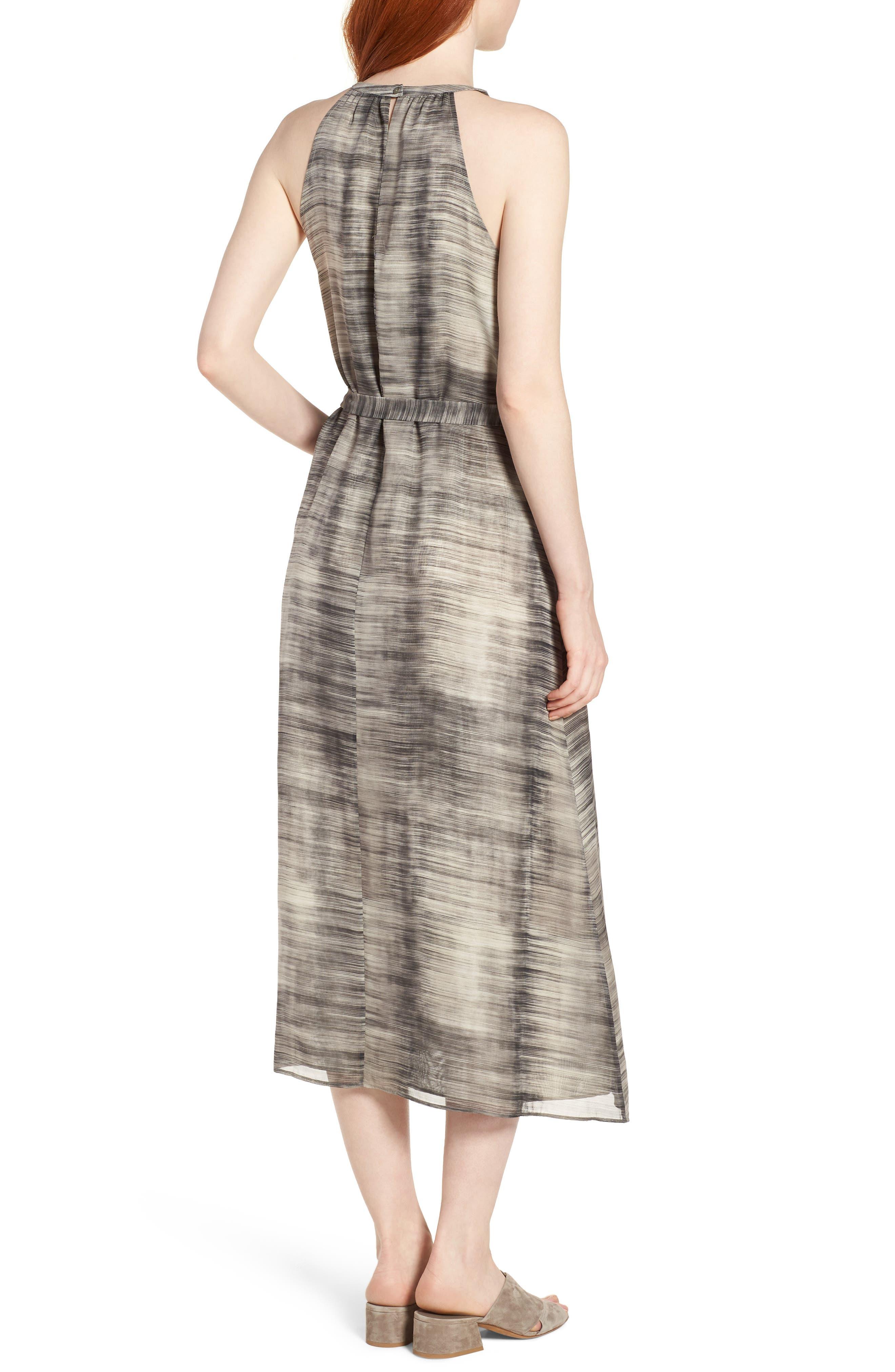 Silk Midi Dress,                             Alternate thumbnail 2, color,                             Limestone
