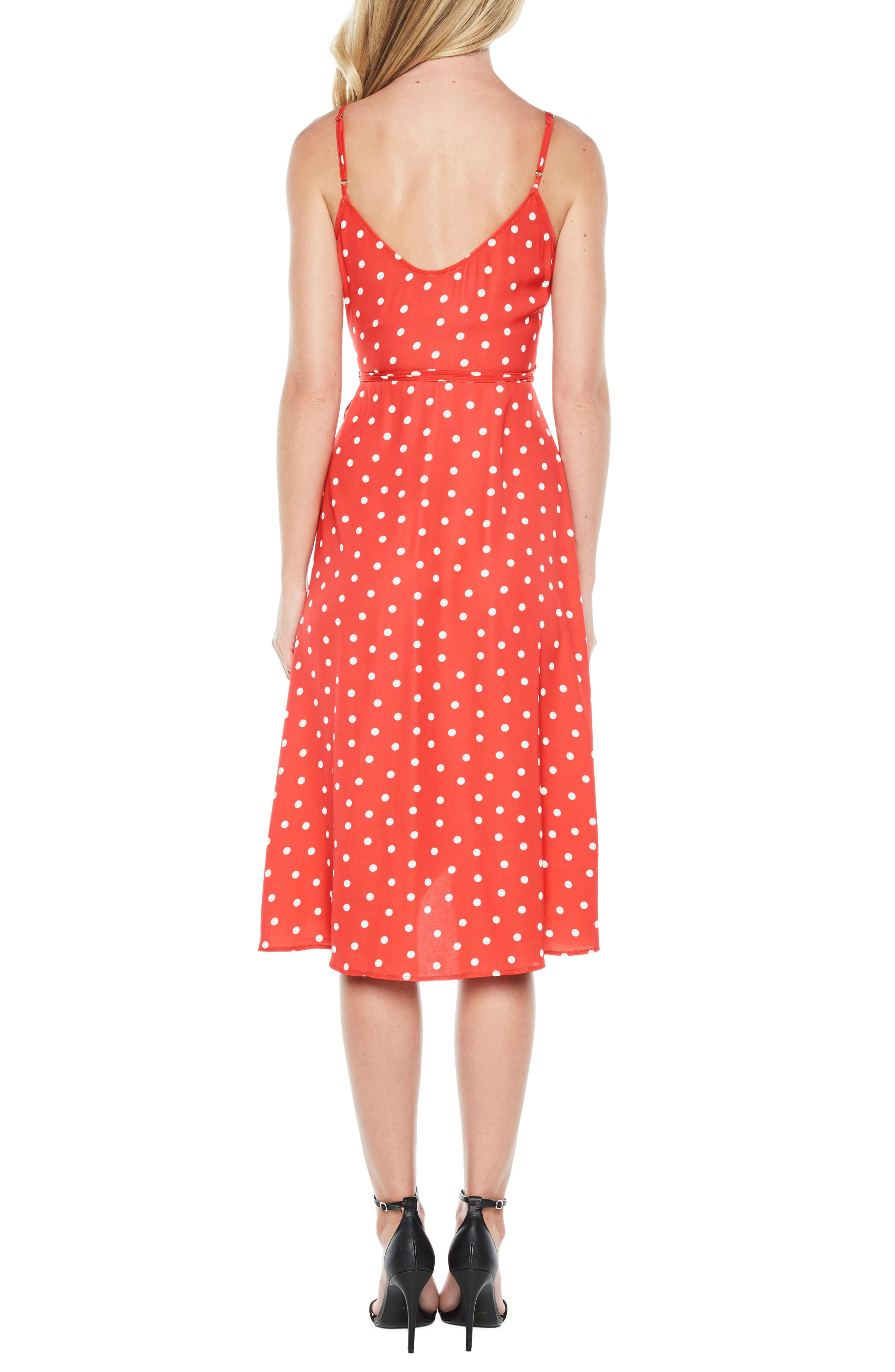 Dotted Wrap Dress,                             Alternate thumbnail 3, color,                             Red Spot
