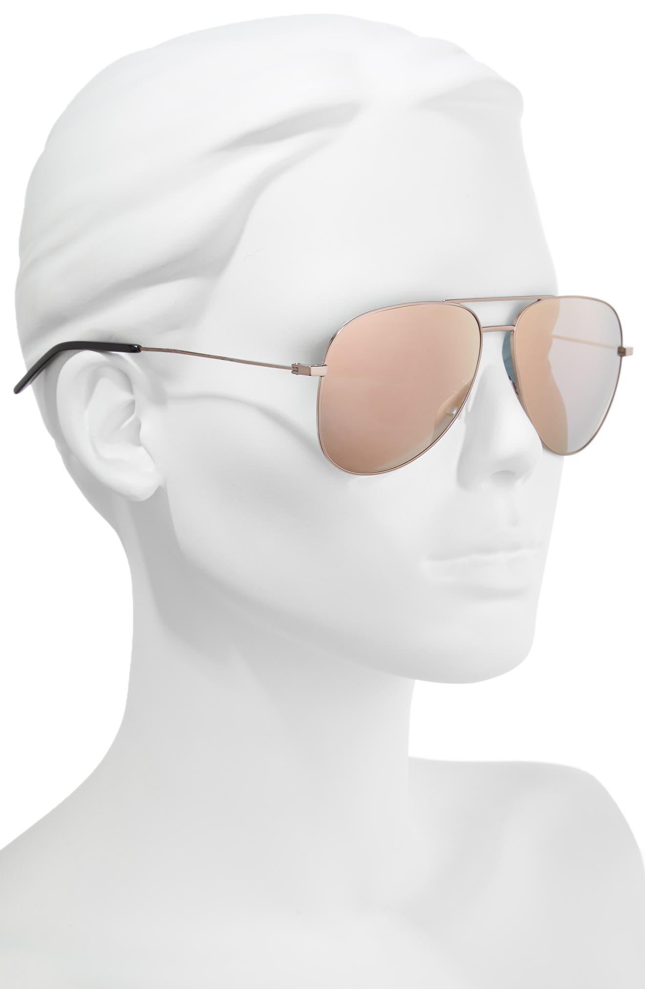 59mm Brow Bar Aviator Sunglasses,                             Alternate thumbnail 2, color,                             Champagne