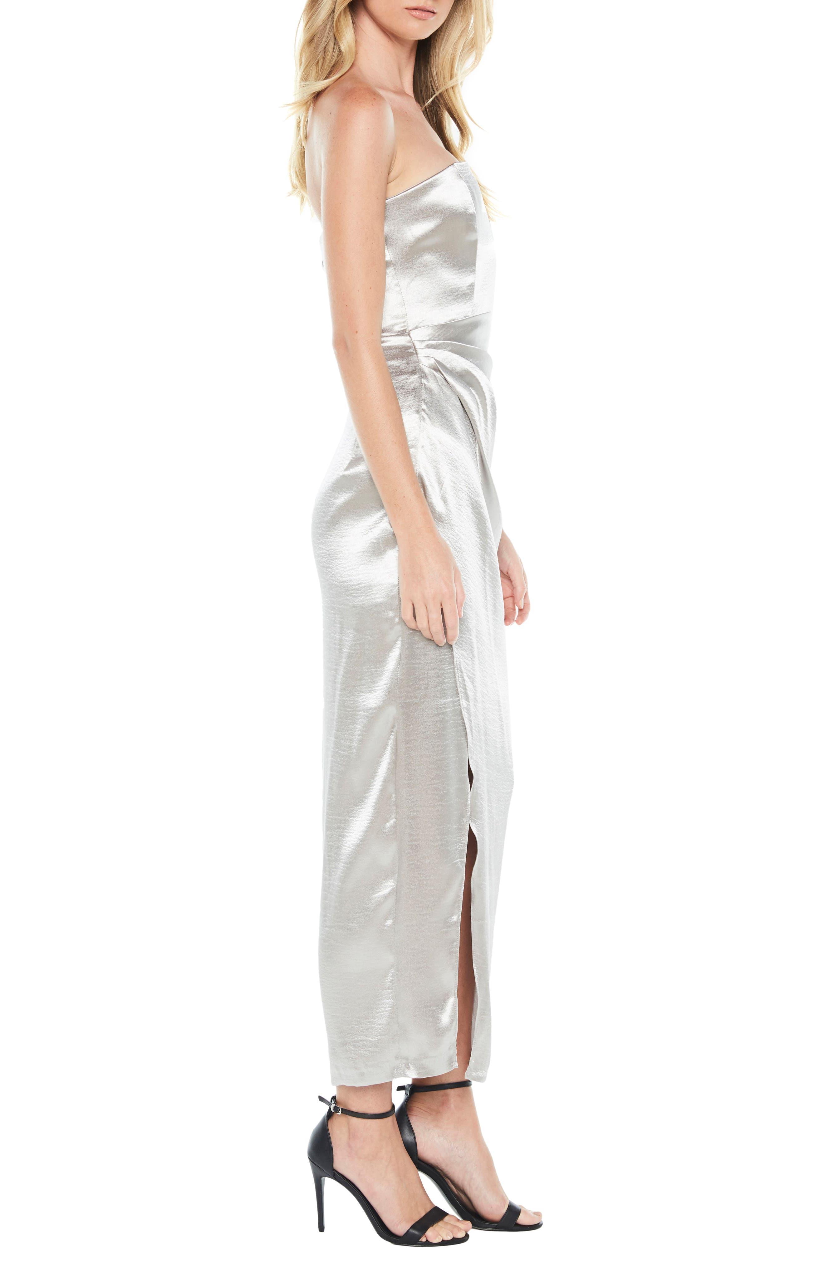 Eri Strapless Satin Gown,                             Alternate thumbnail 3, color,                             Silver