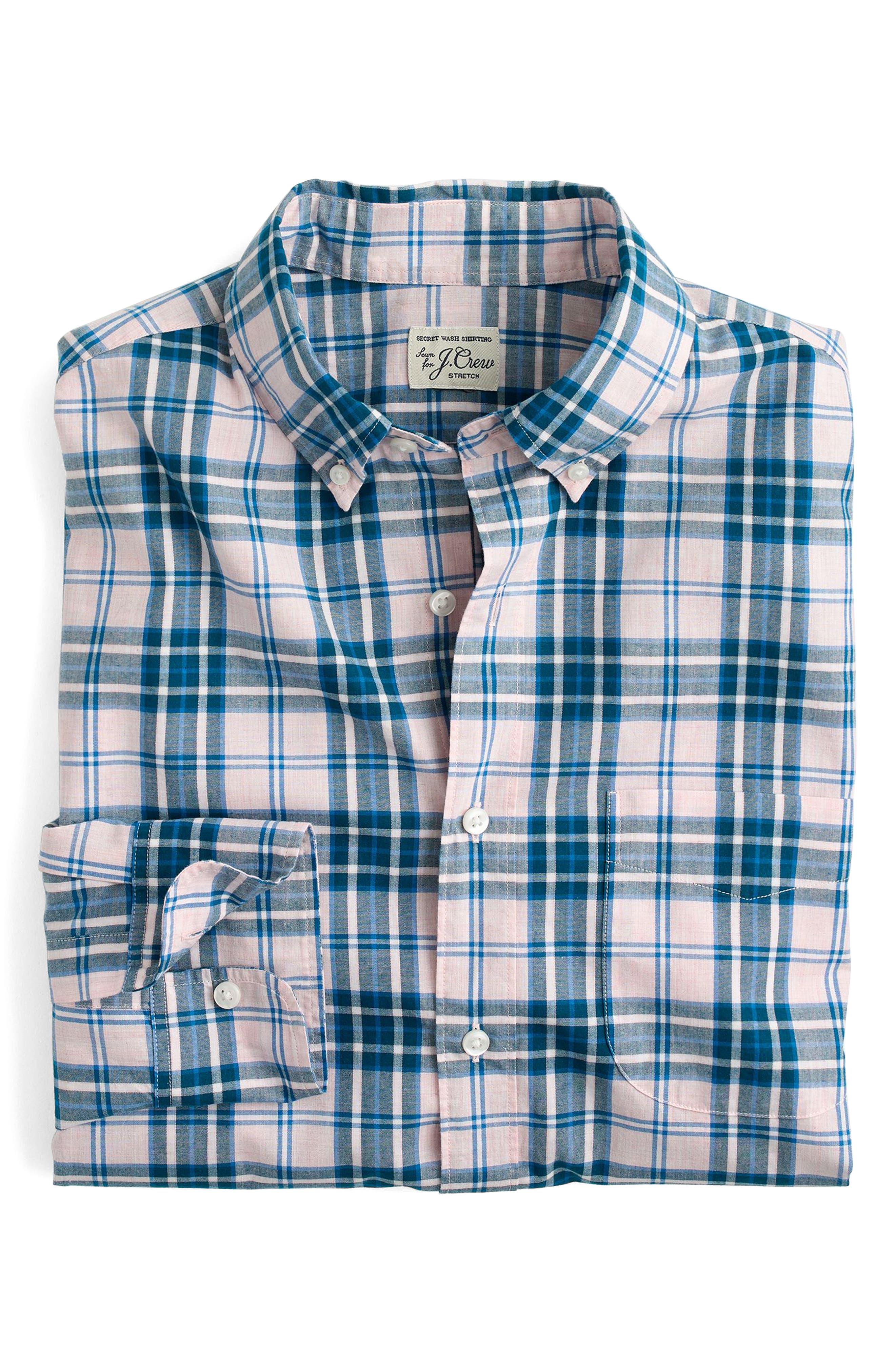 Slim Fit Stretch Secret Wash Heather Poplin Plaid Sport Shirt,                         Main,                         color, Pink Sea