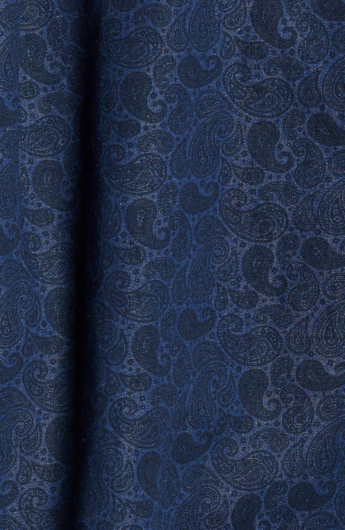 Crown Cool Paisley Denim Sport Shirt,                             Alternate thumbnail 5, color,                             Yankee Blue