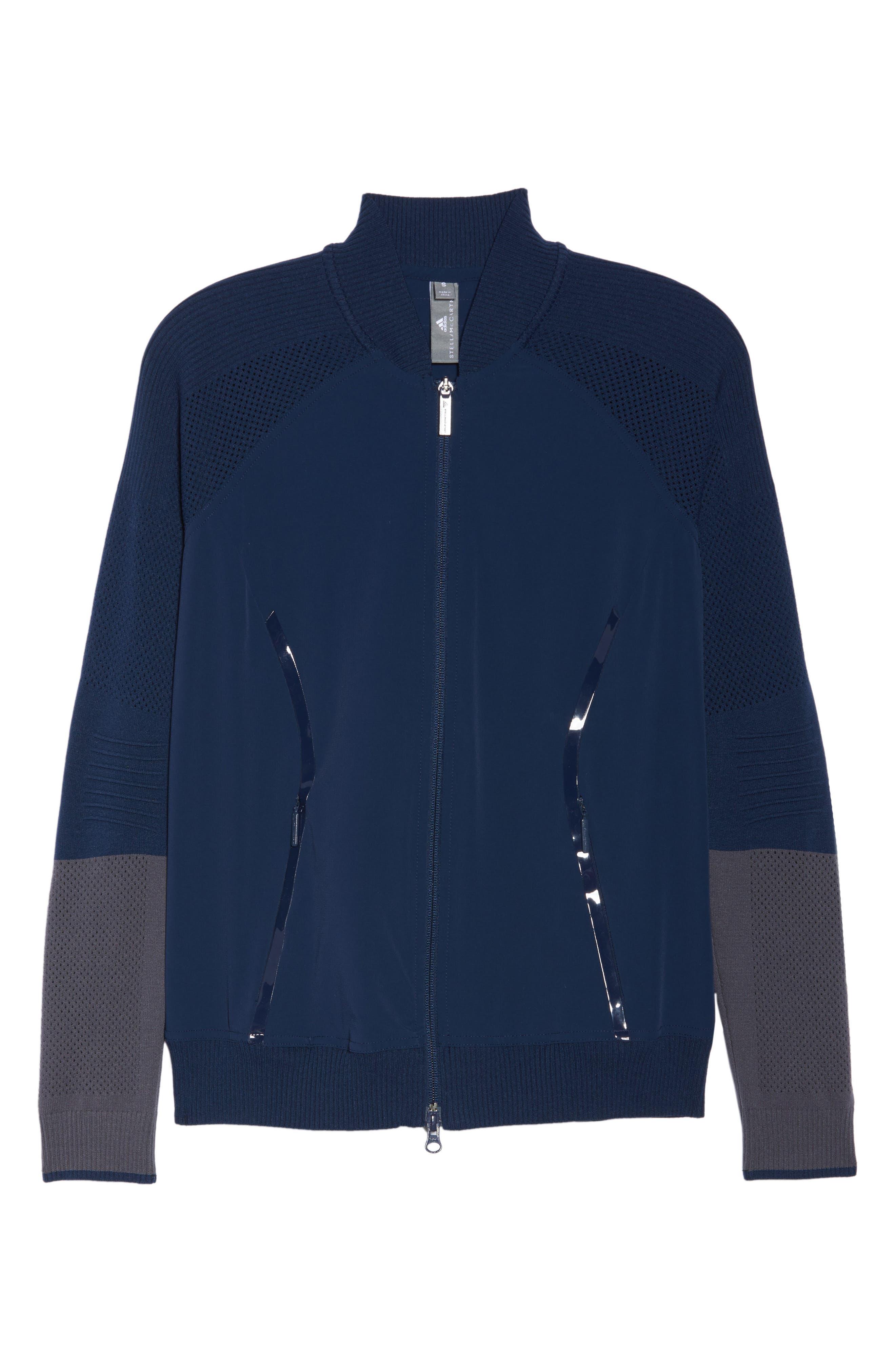 Run Ultra Knit & Woven Jacket,                             Alternate thumbnail 7, color,                             Collegiate Navy