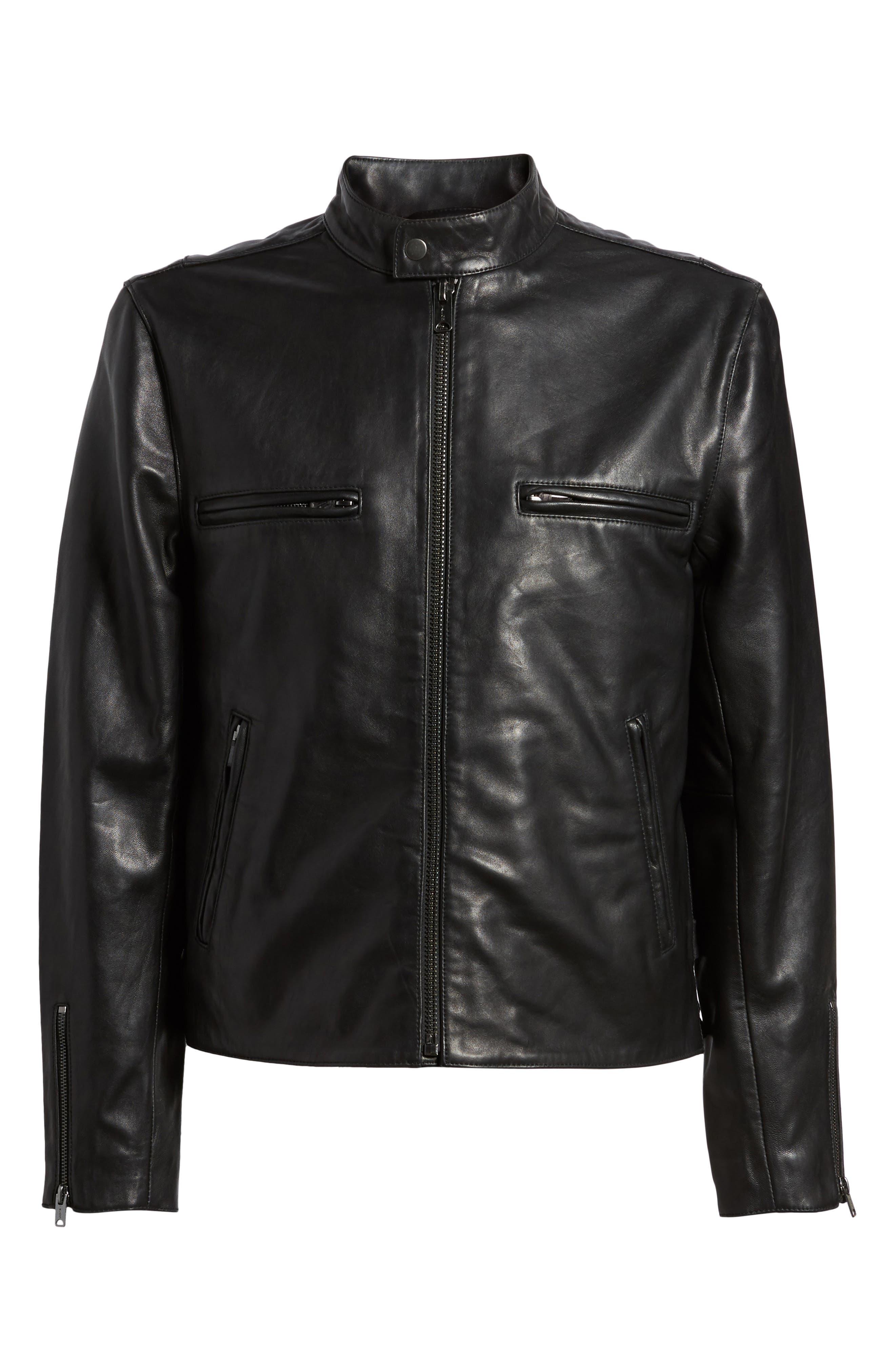 Hudson Racer Slim Fit Leather Moto Jacket,                             Alternate thumbnail 6, color,                             Black